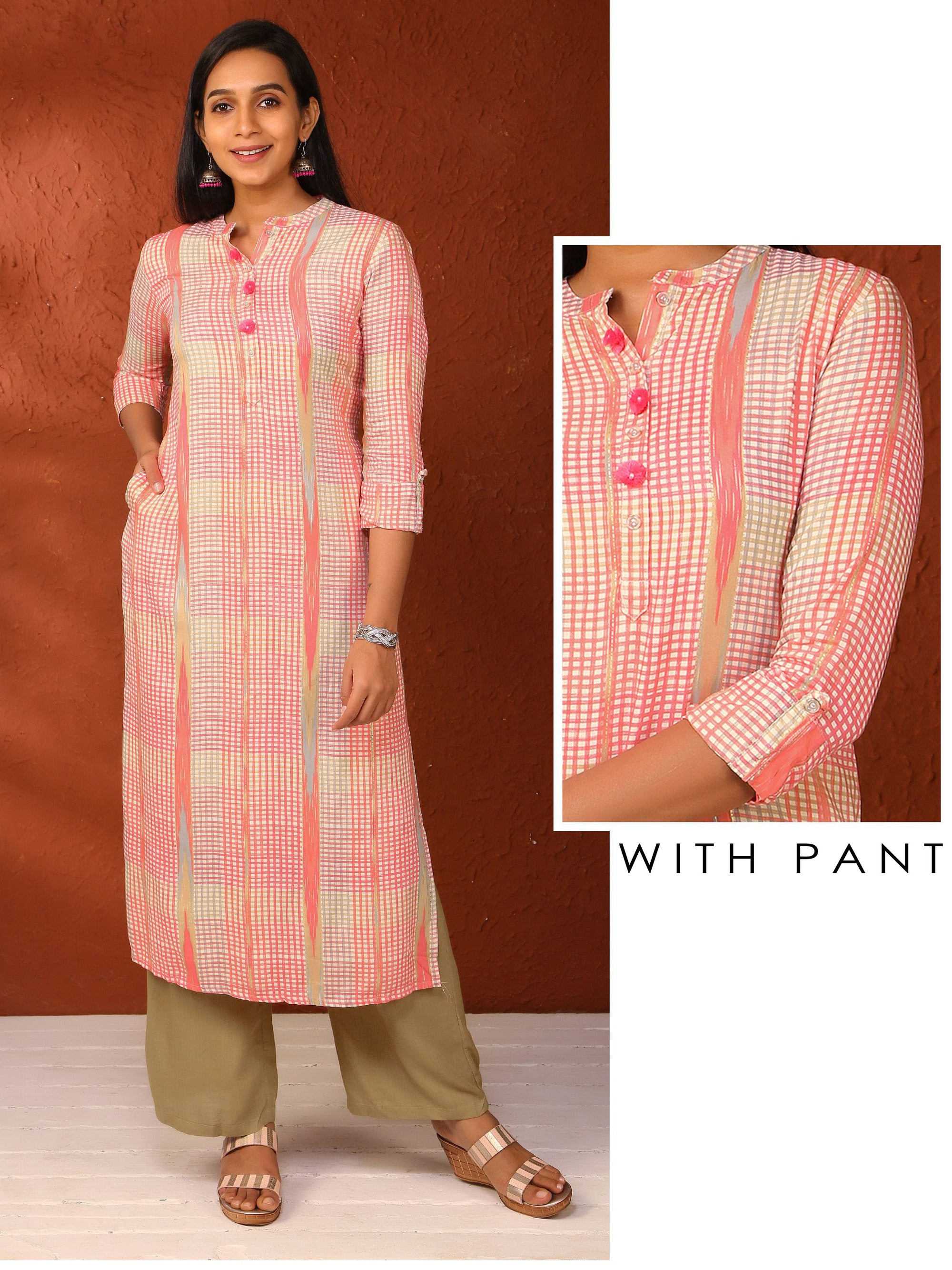 Pom-Pom Buttoned Checked Kurti with parallel pant set - Peach