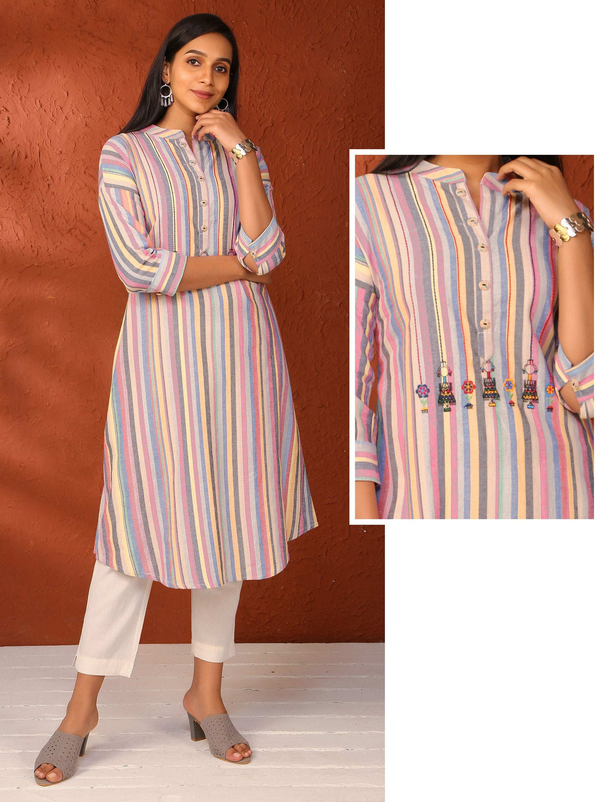 Candy stripes Pattern Cotton Kurti
