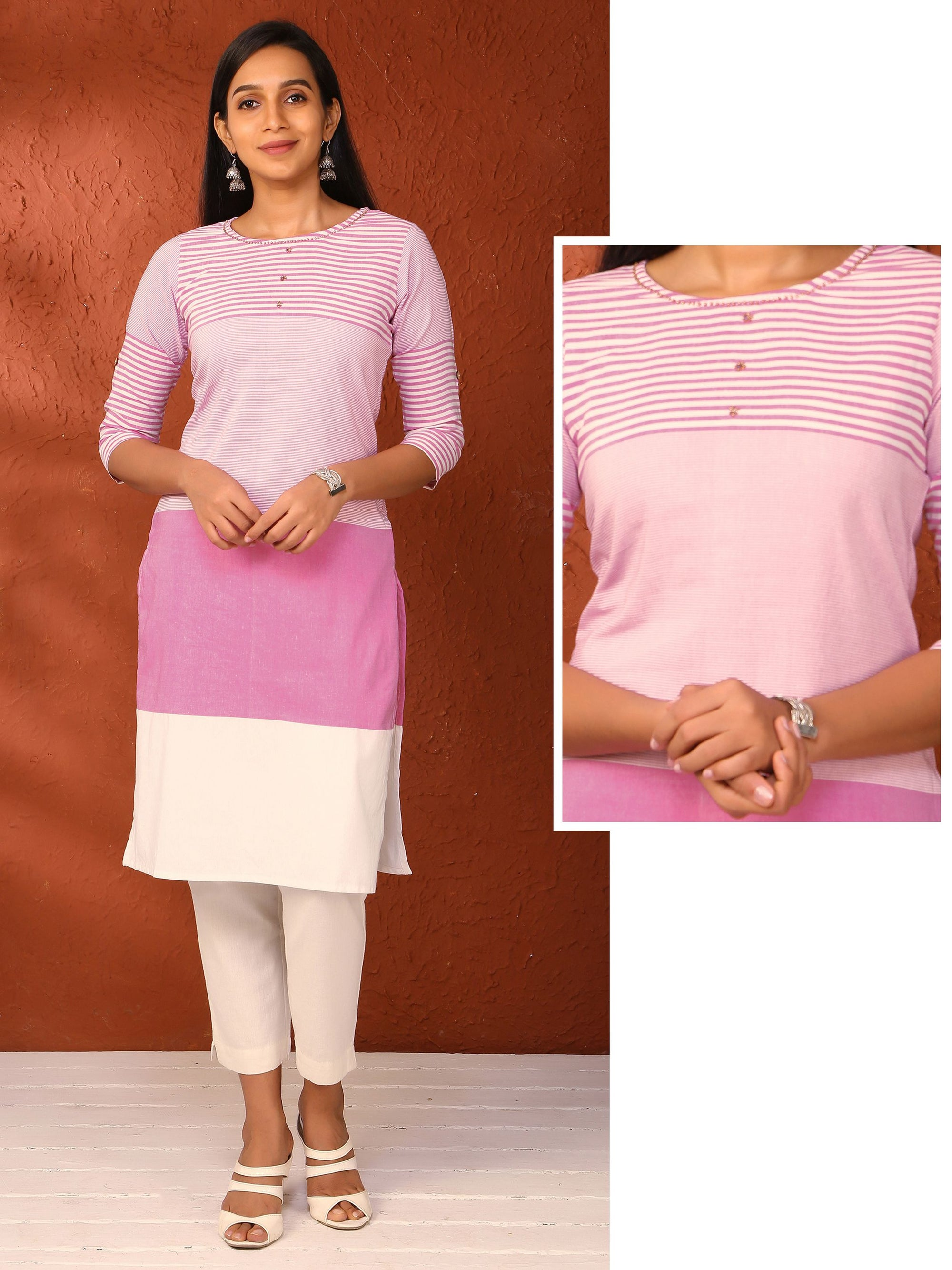 Striped Block Cotton Kurti - Pink