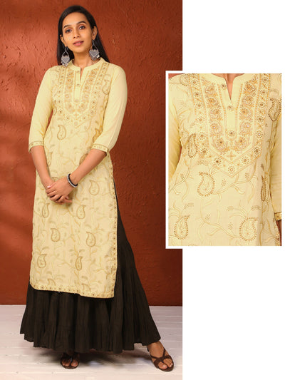 Floral & Mango Self Embroidered Cotton Kurti – Yellow