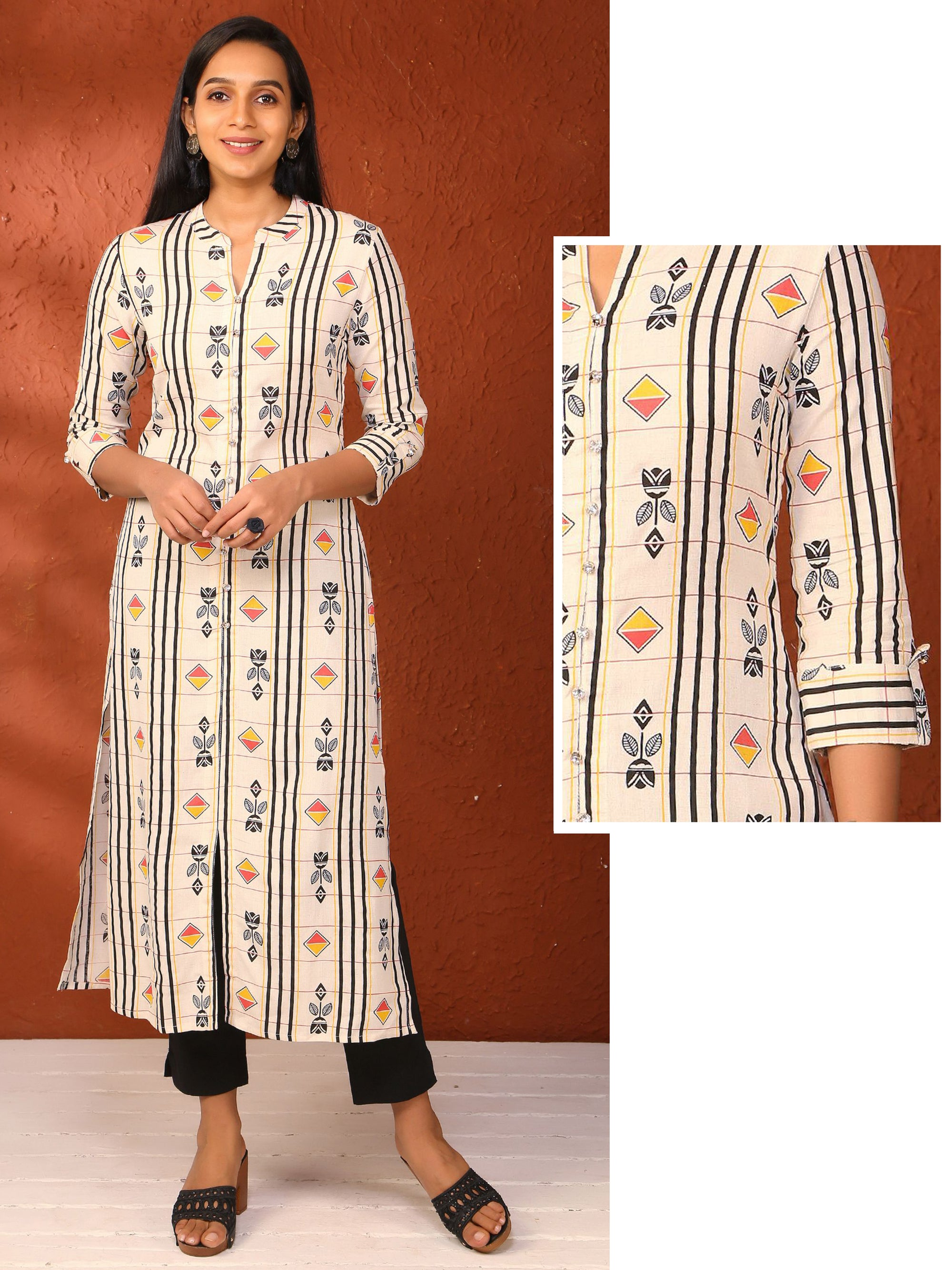 Abstract stripes &  Geometric Printed Cotton Kurti