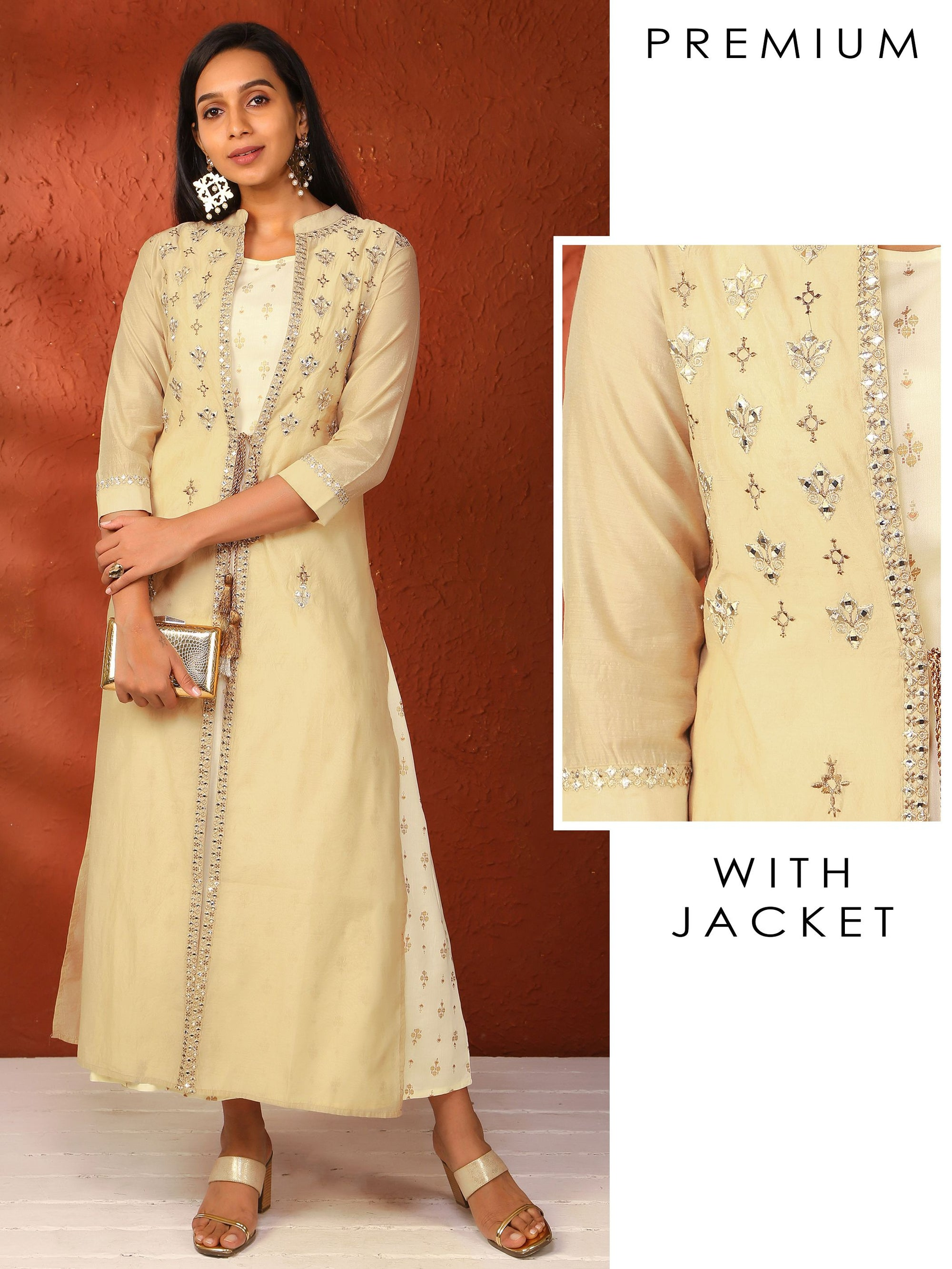 Foil Buta Printed Kurti with Zari Embroidered & Mirror worked Jacket
