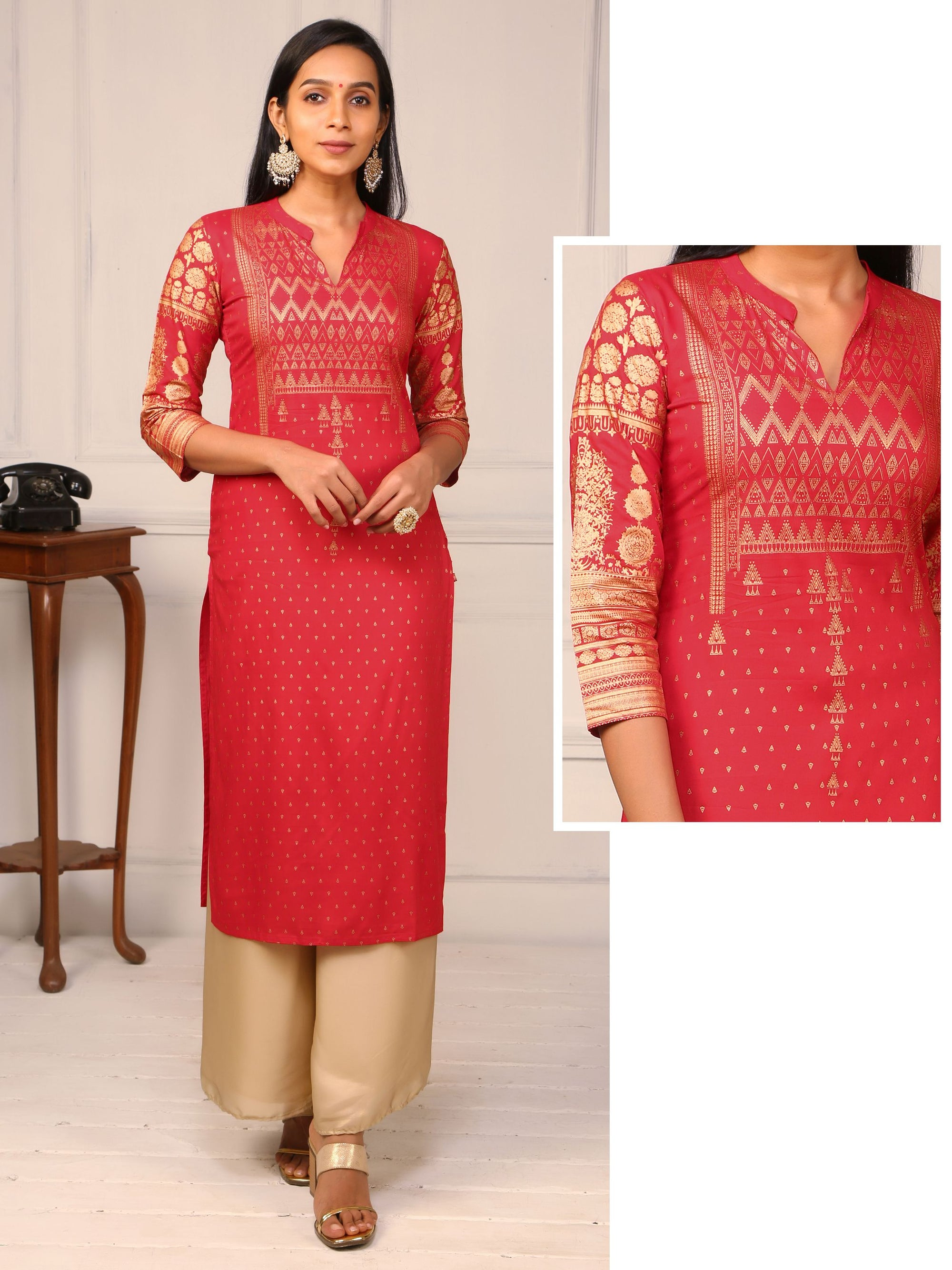 Khadi Printed Floral & Geometric Jaal Cotton Kurti - Red