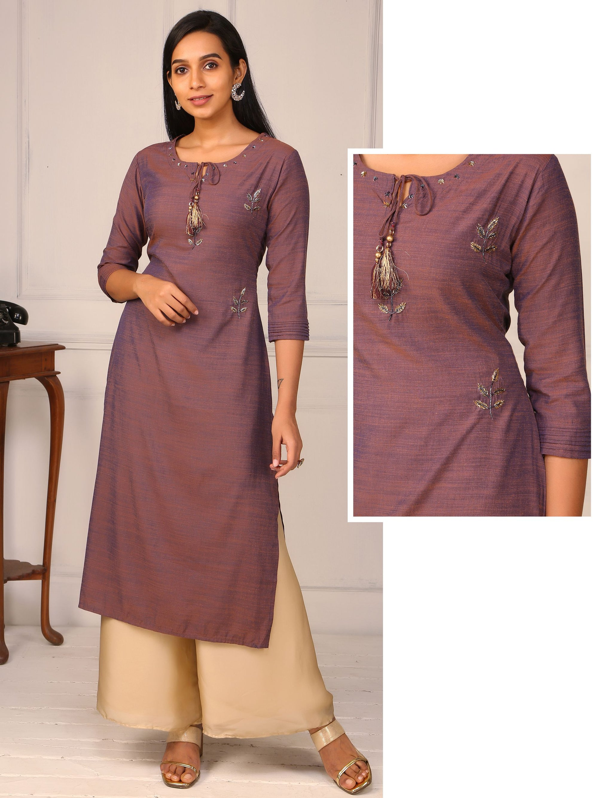Cut-dana Worked Woven Textured & Dual Toned Silk Kurti