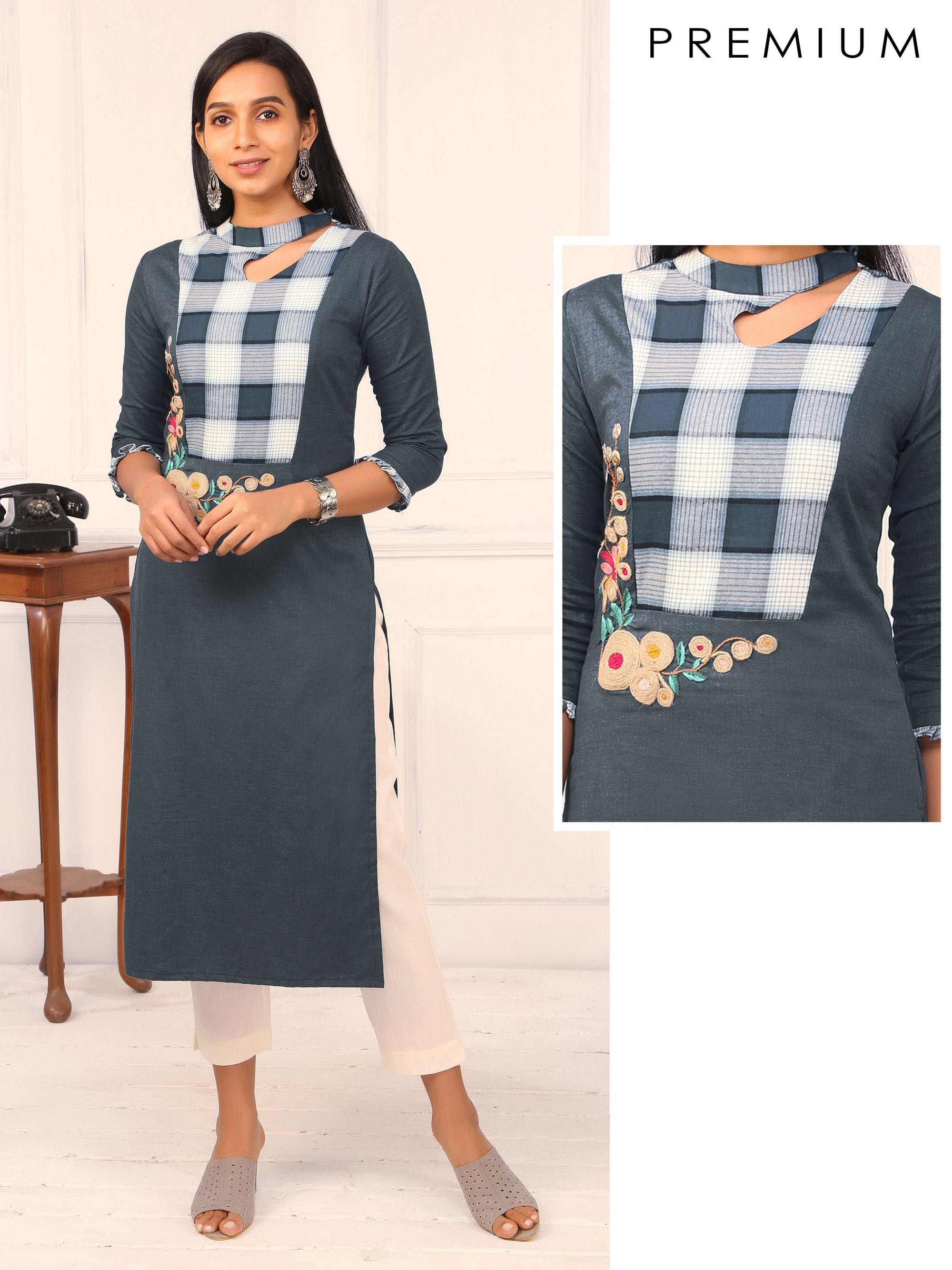 French Knot & Jute Embroidered, Keyhole Neck Kurti