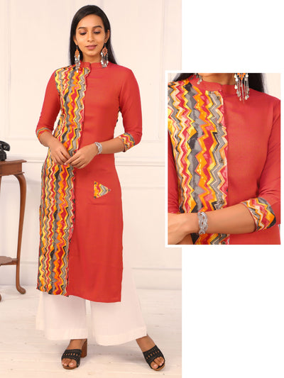 Multi-Color Chevron Printed, Dual Toned Cotton Kurti