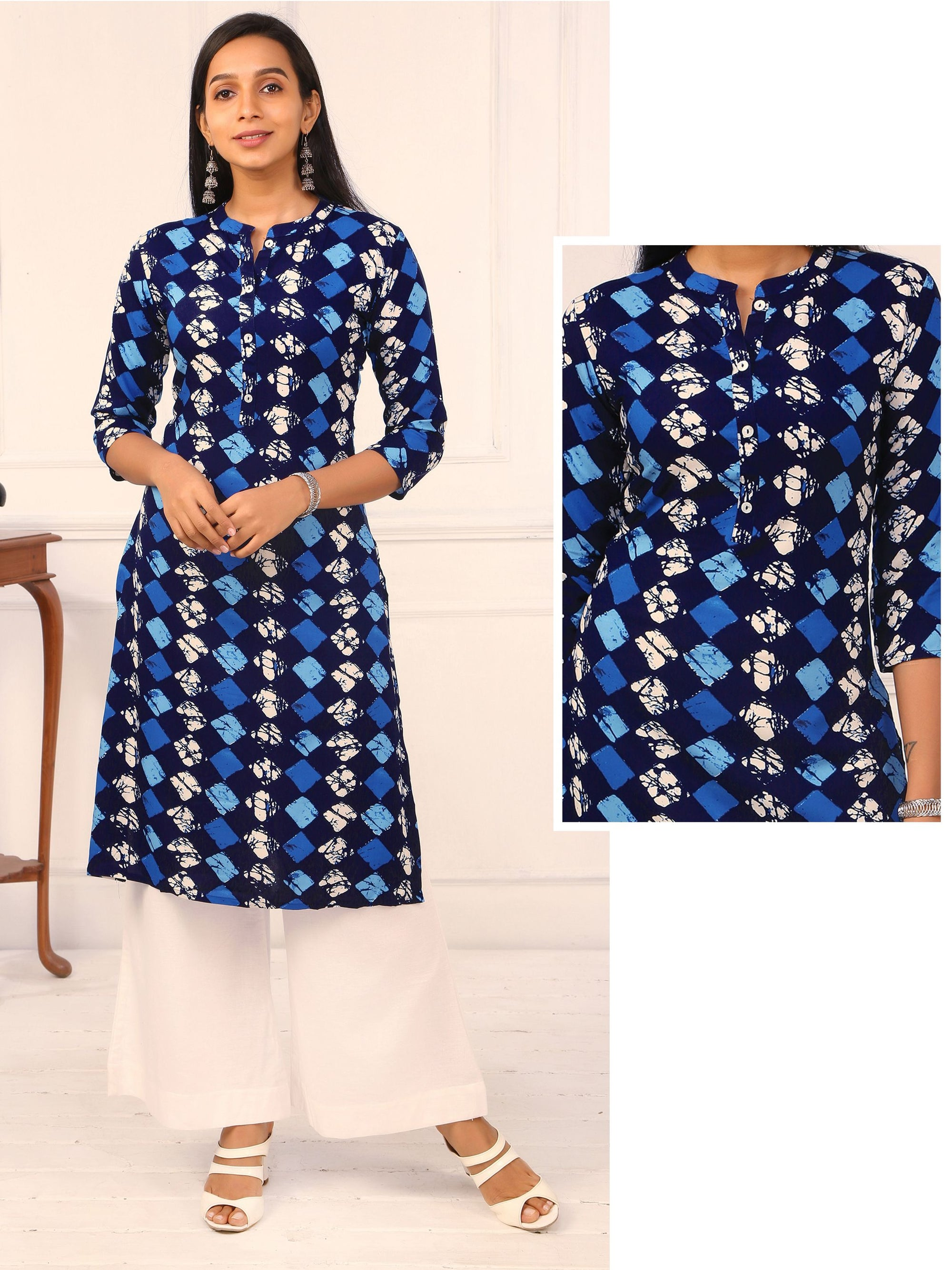 Mother of Pearl Buttoned Abstract Printed Kurti - Navy Blue