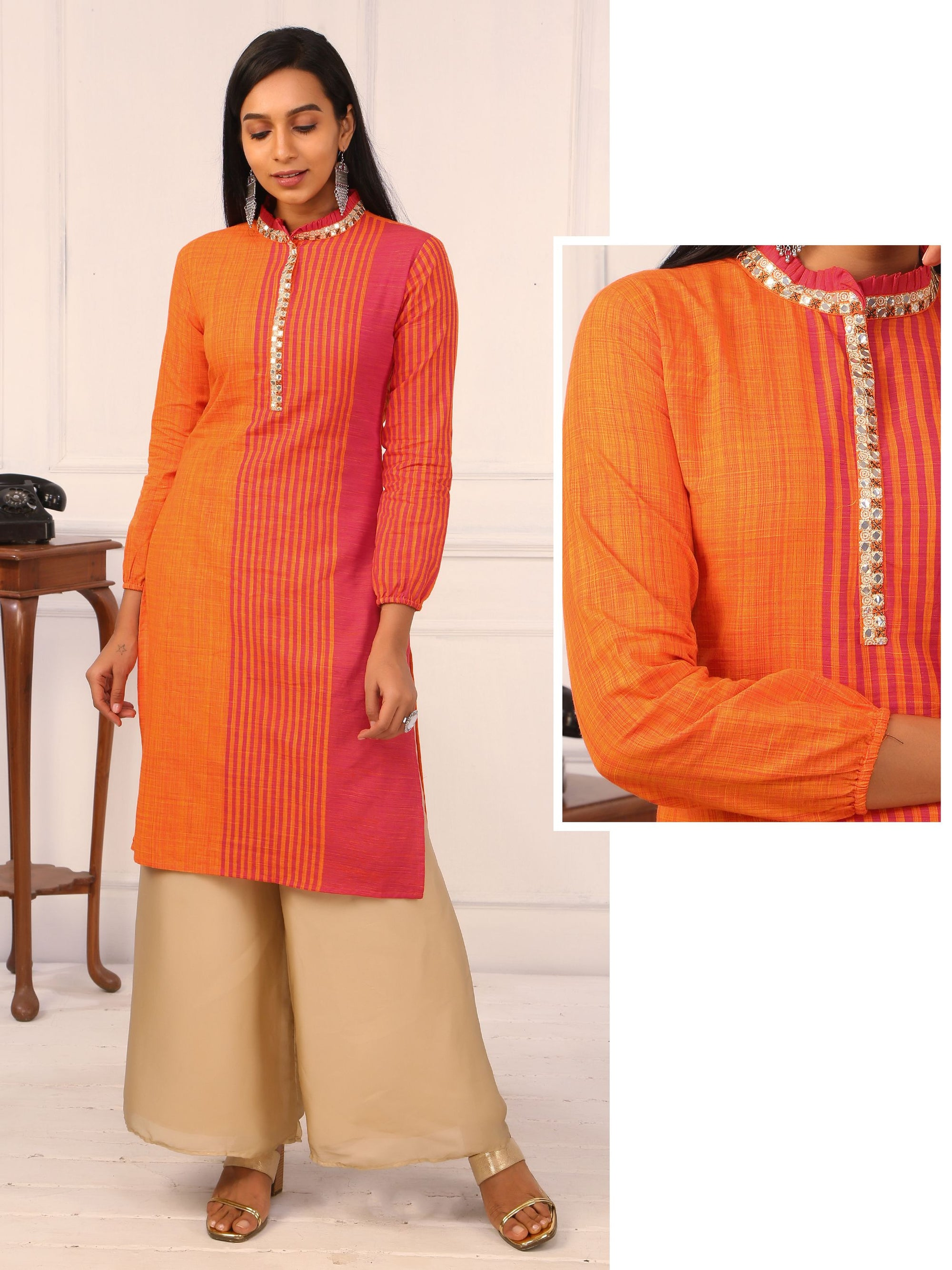 Dual Colour khadi Cotton Kurti