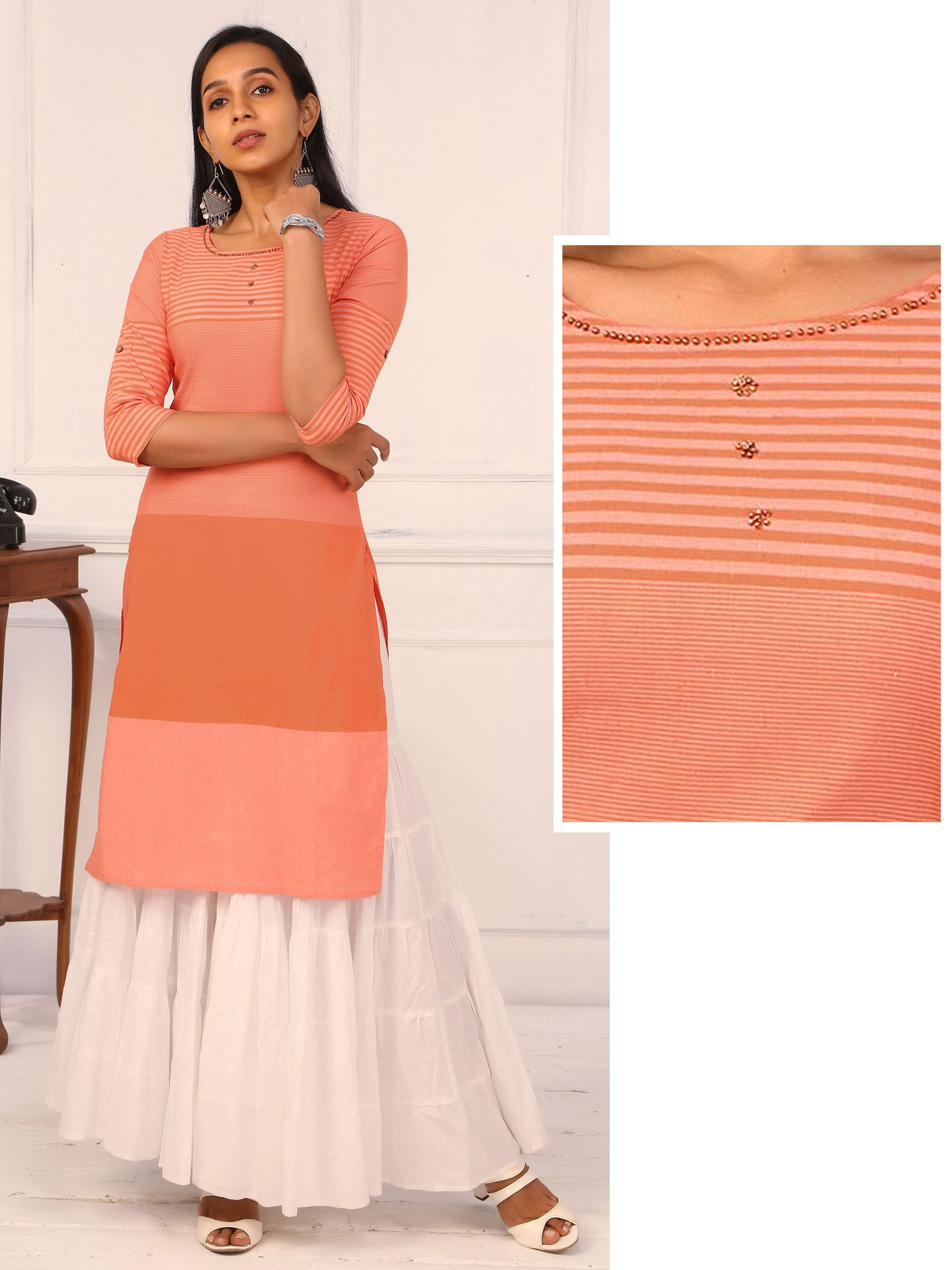 Striped Block Cotton Kurti - Orange