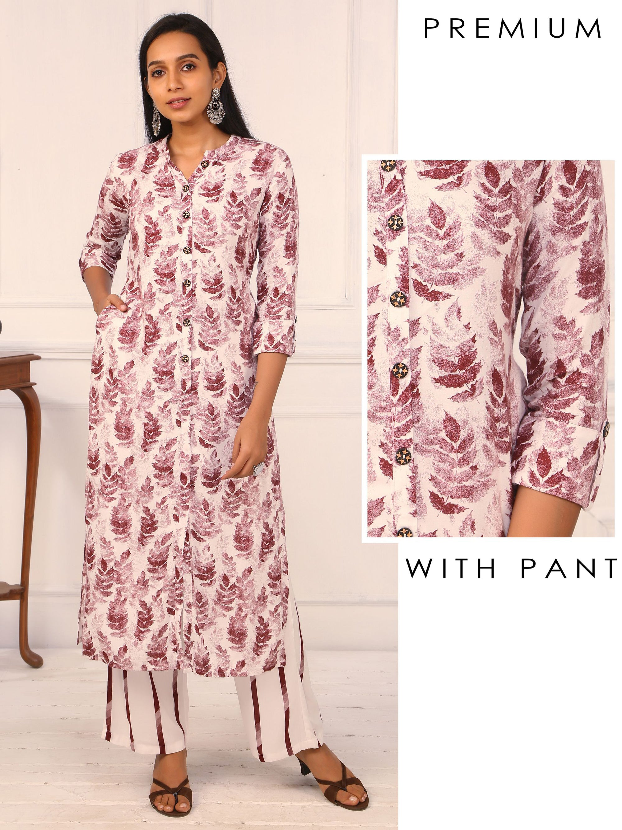 Leaf Printed Kurti with Striped Pant Set