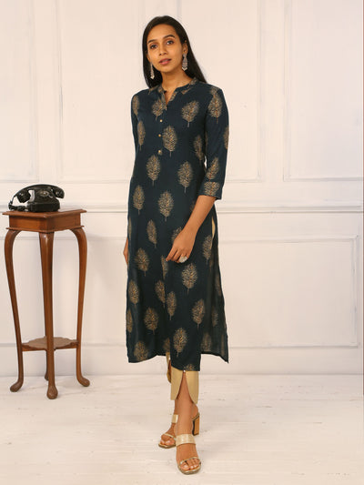 Foil Leaf Printed & Cut-dana Highlighted Kurti