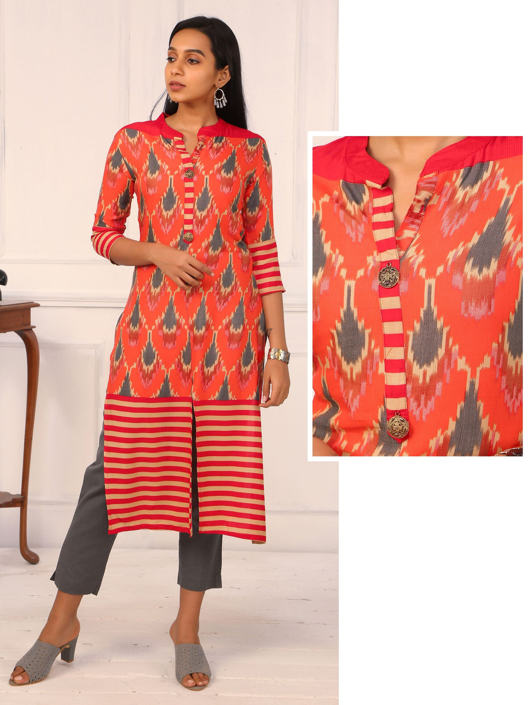Abstract Ikkat &  Stripes Printed Kurti