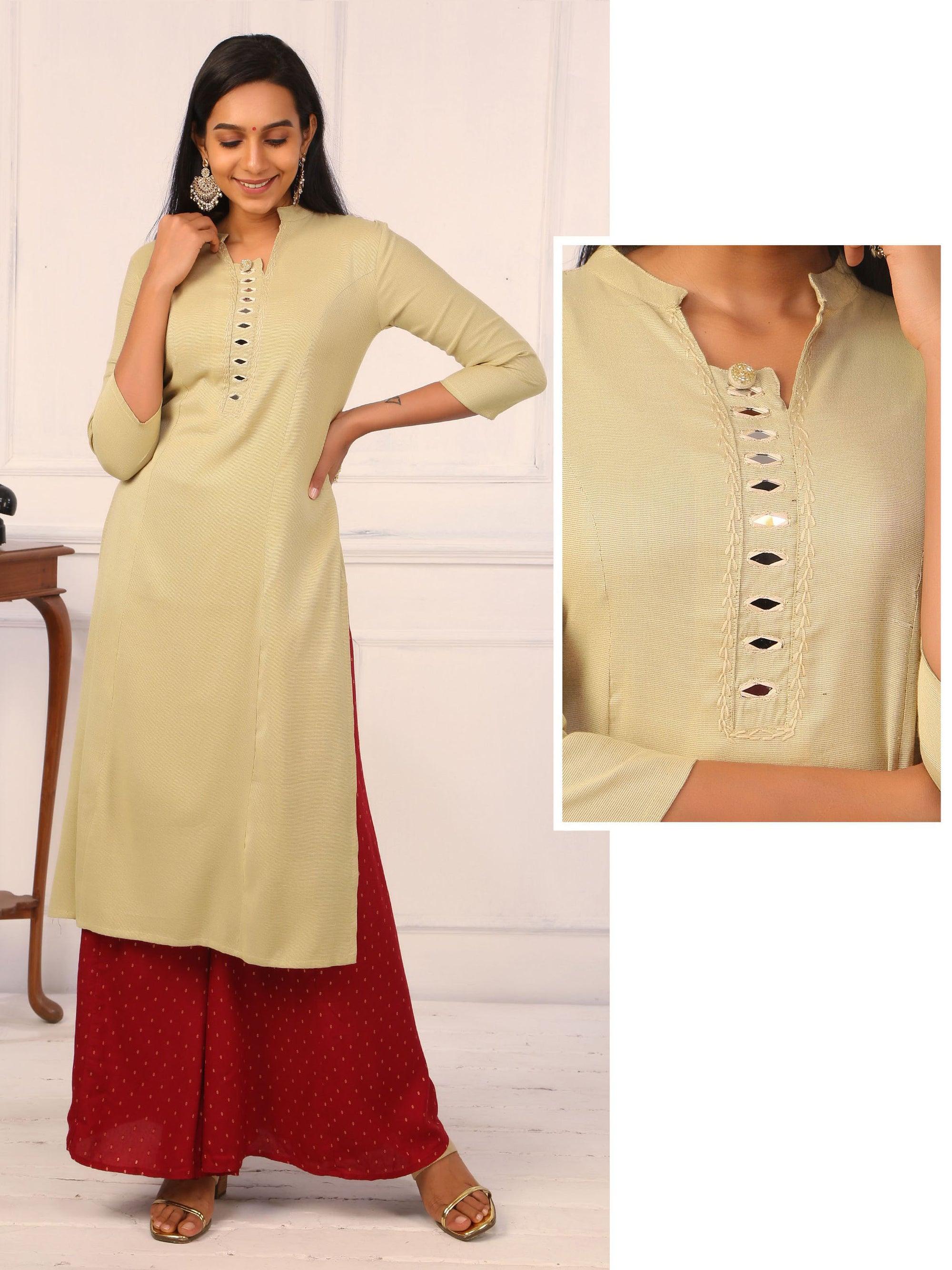 Woven Textured Solid Cotton Kurti - Beige