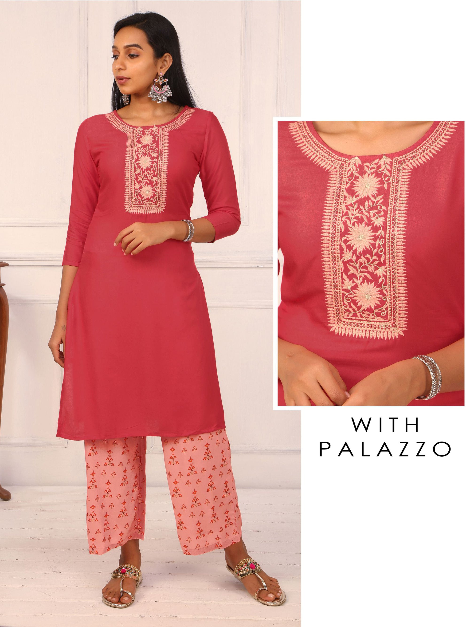 Elegant Yoke Embroidered Kurti & Printed Palazzo Set