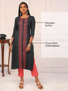 Cross Stitch Embroidered & Wooden Buttoned Kurti