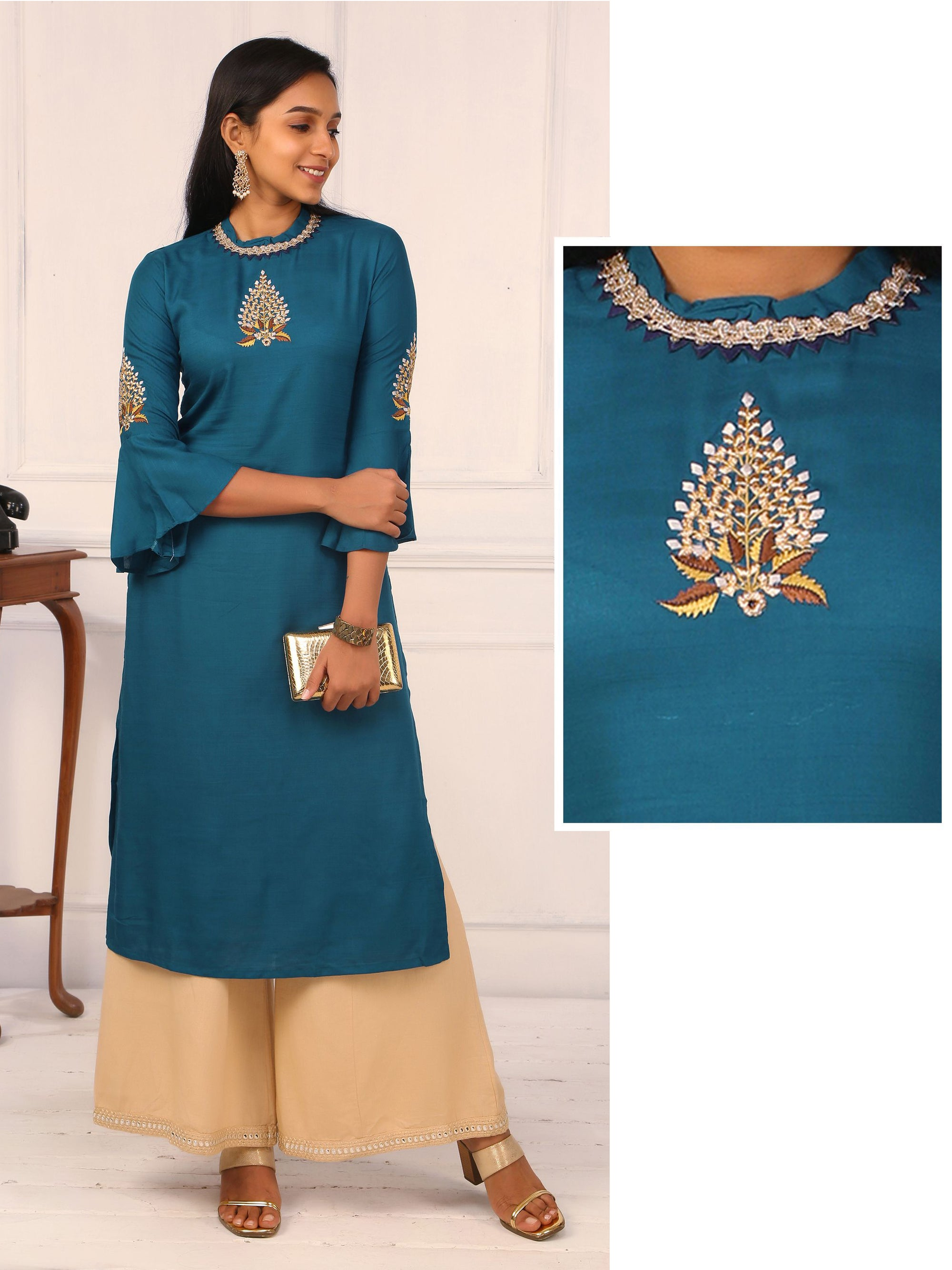 Placement Embroidered Choker Neck Kurti