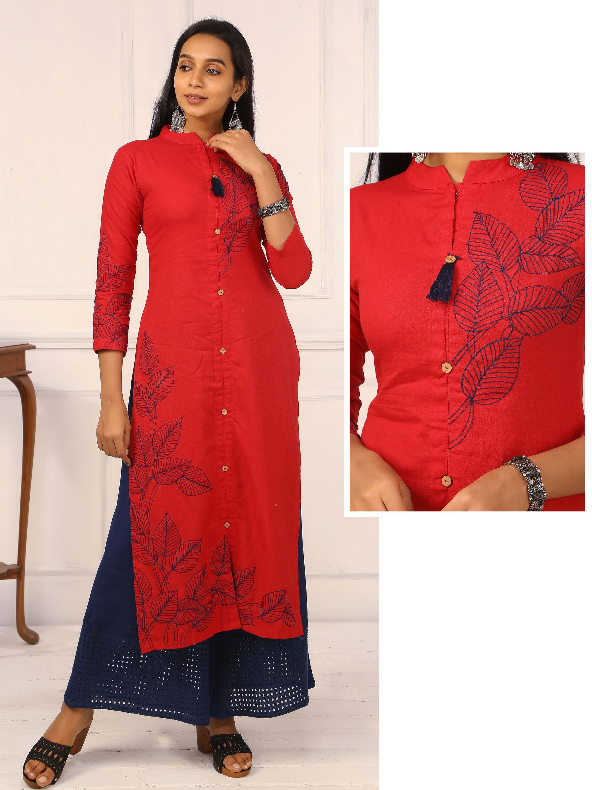 Leaf Embroidered Kurta - Red