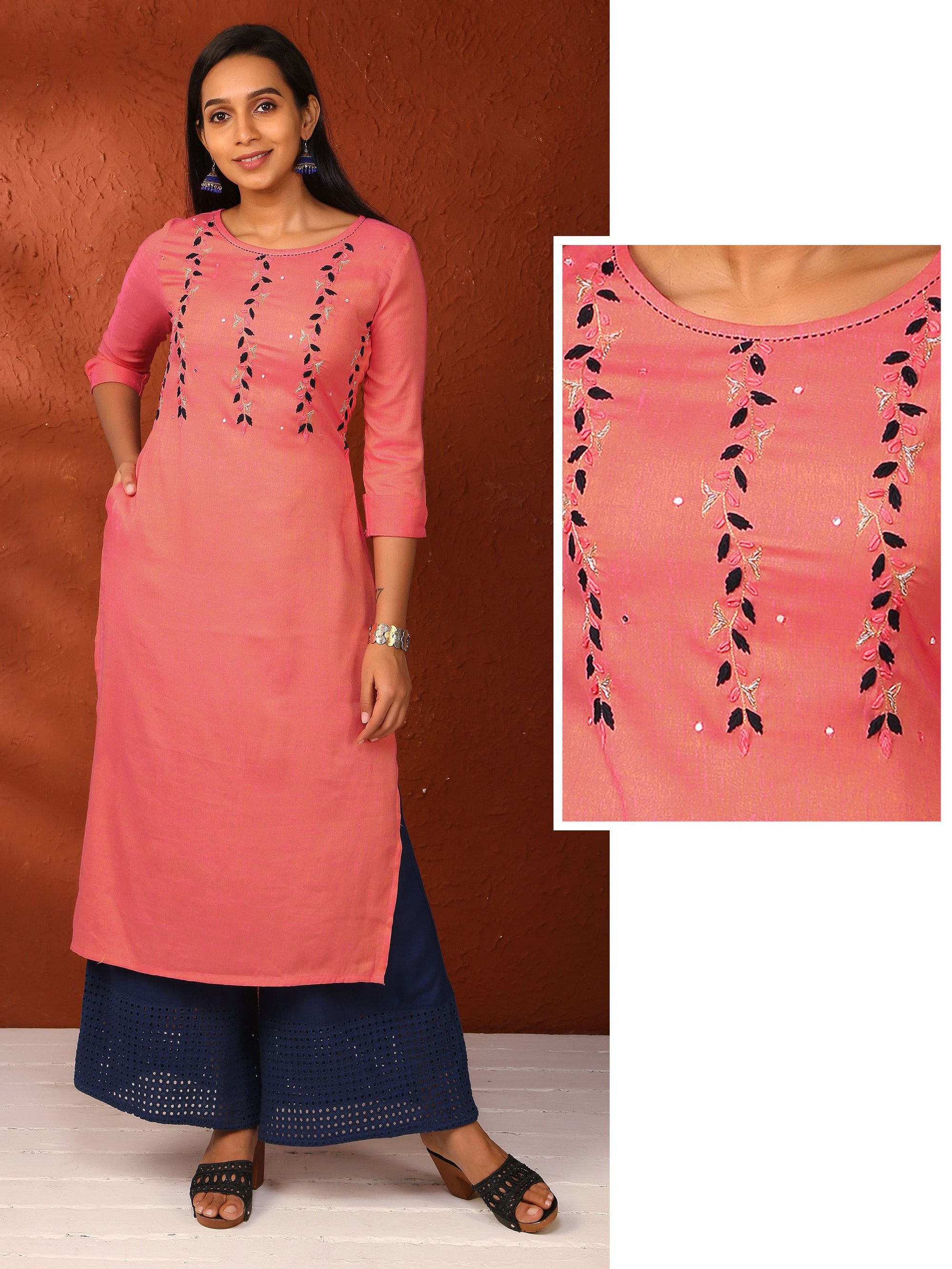 Minimal Embroidered Kurta - Pink