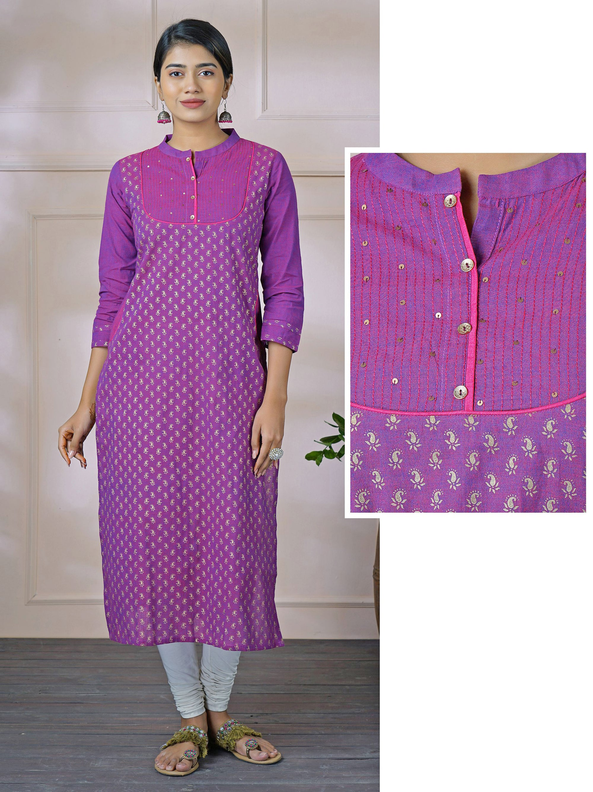 Sequin worked & Foil Mango Printed Dual Toned Cotton Kurti