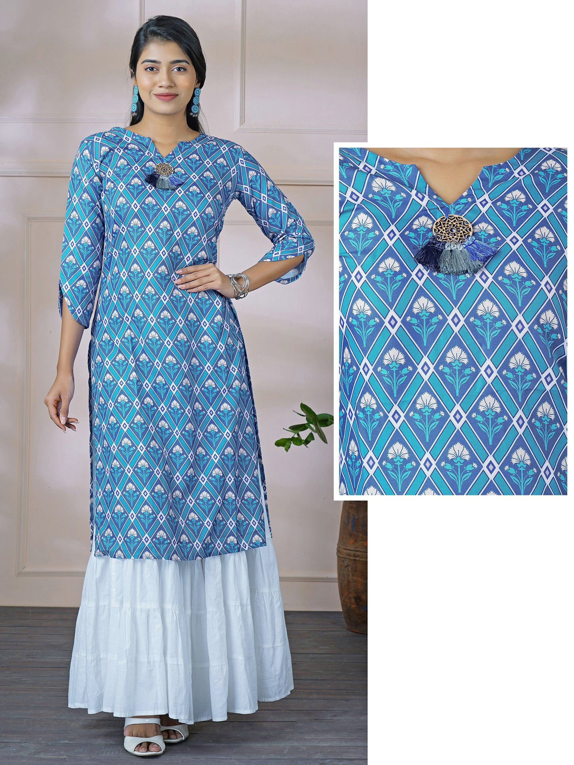 Star Chakra Engraved Wooden Tassel & Diamond Printed Kurti