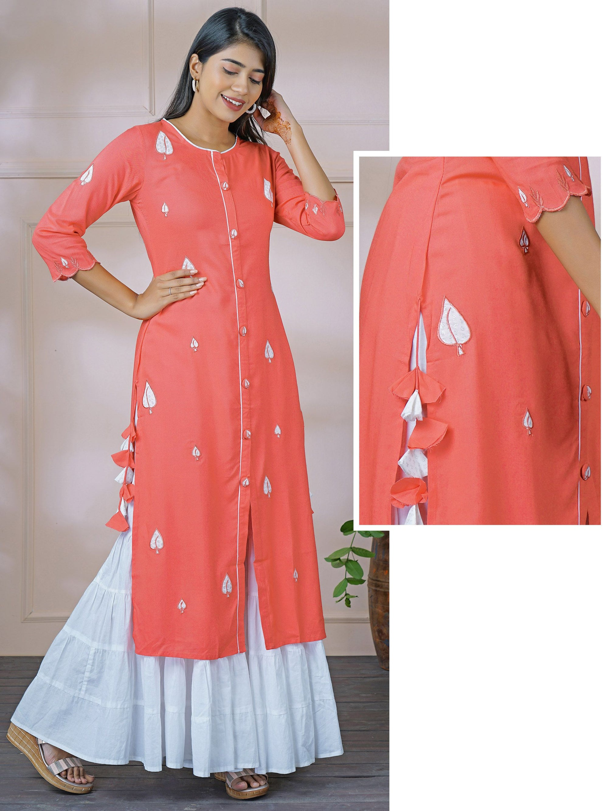 Silver Leaf Patch Worked Panel Kurti with Tassels - Candy Pink