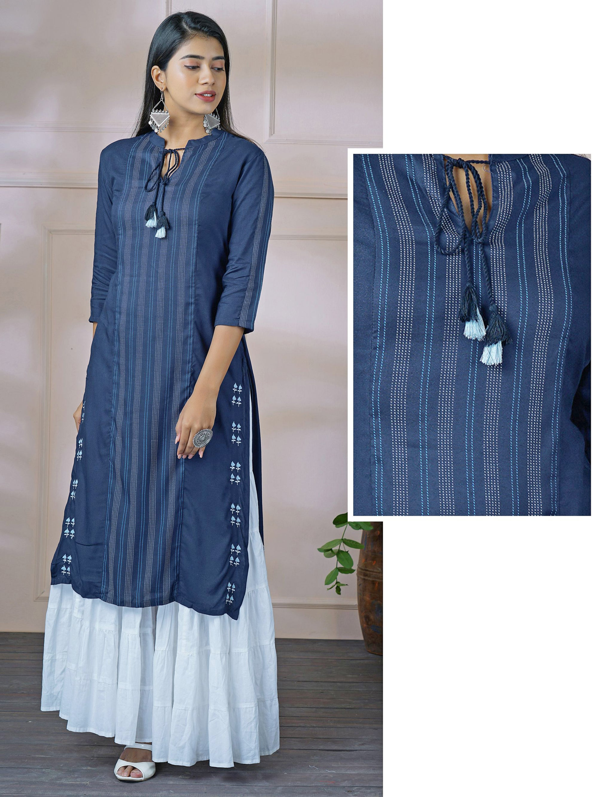 Minimal Chalk Stripes Printed Rayon Kurti – Navy Blue
