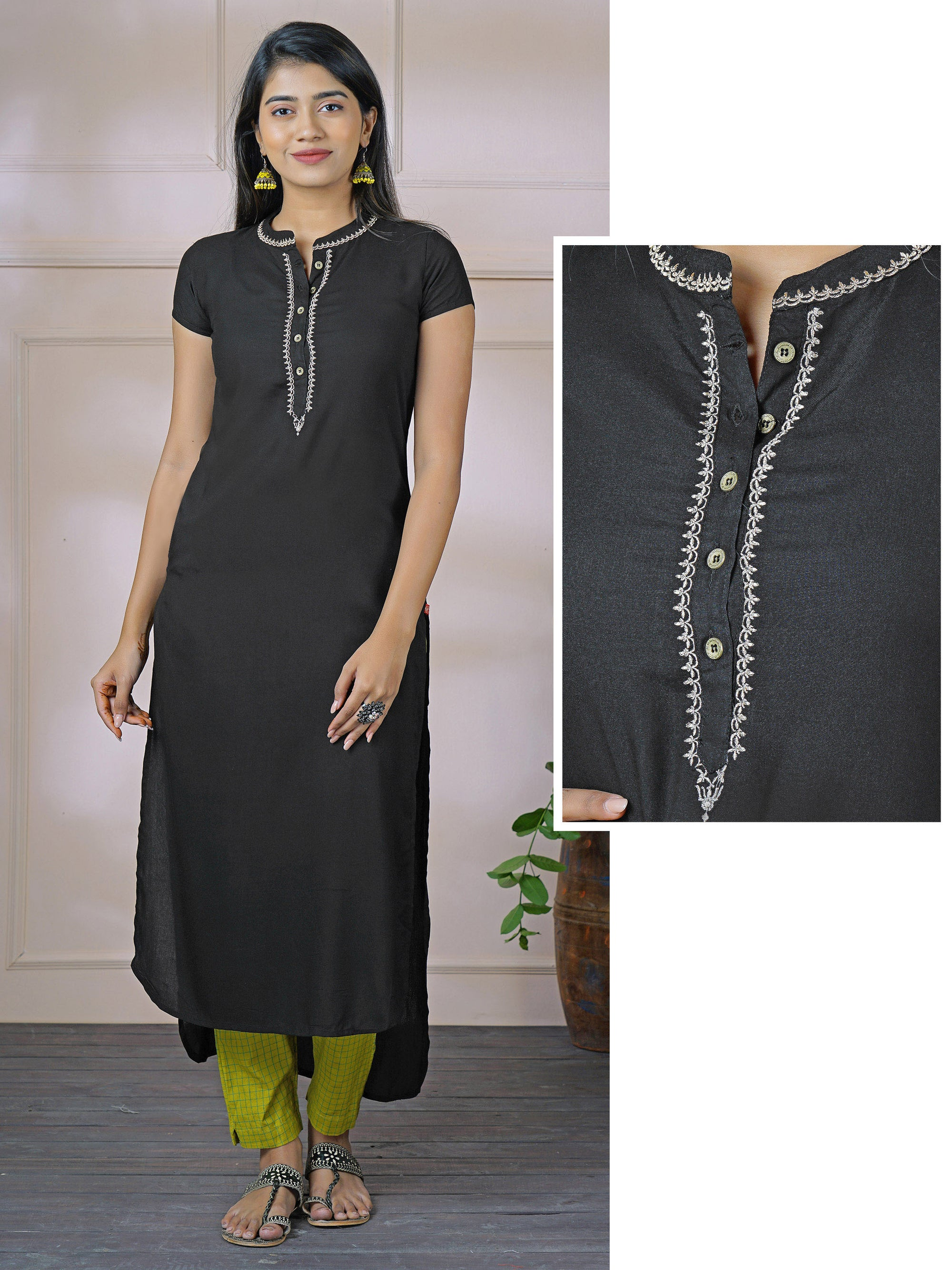 Minimal Zari Embroidered High-Low Solid Kurti