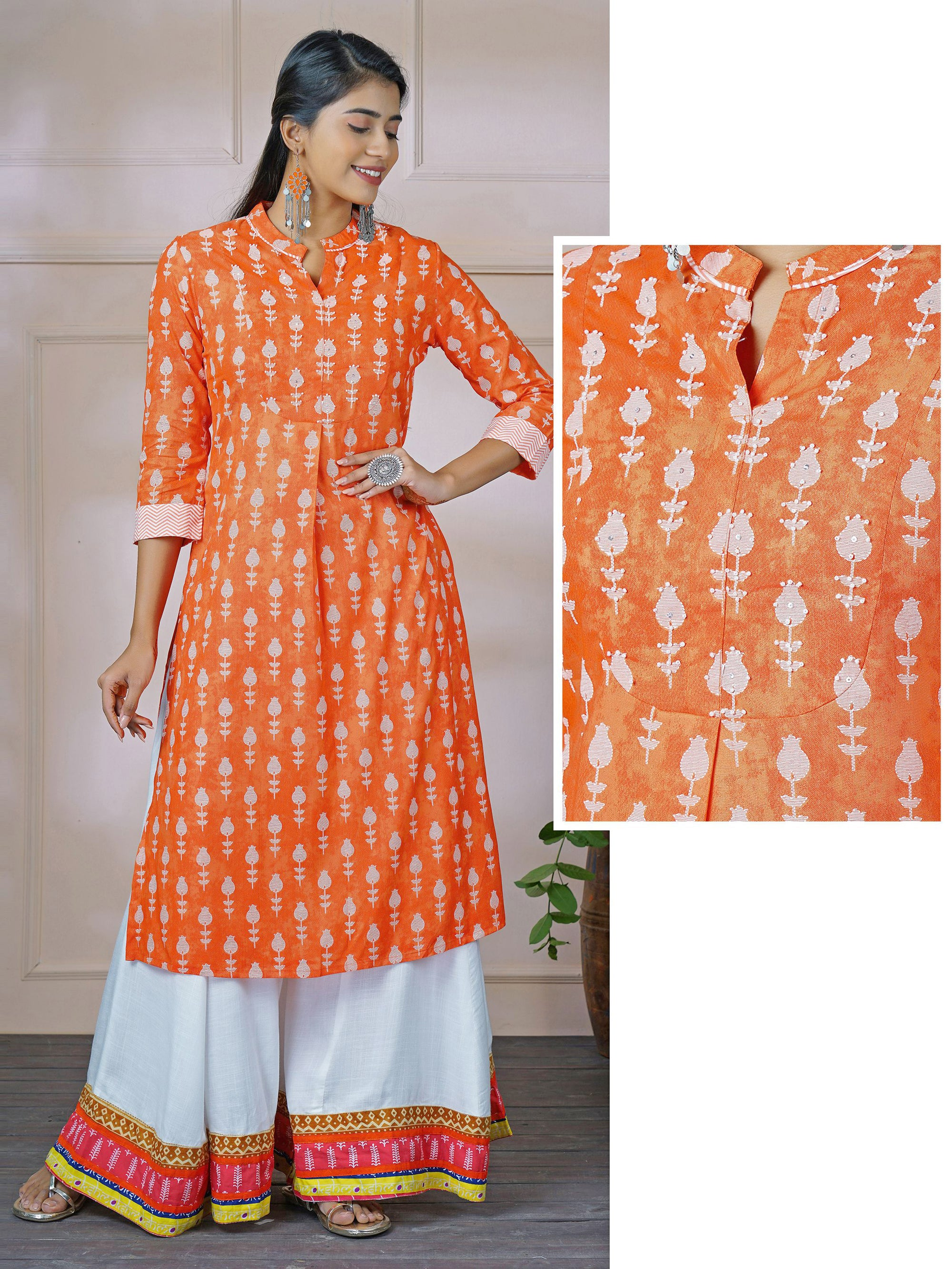 Sequin & Bead Worked Tulip Printed Kurti