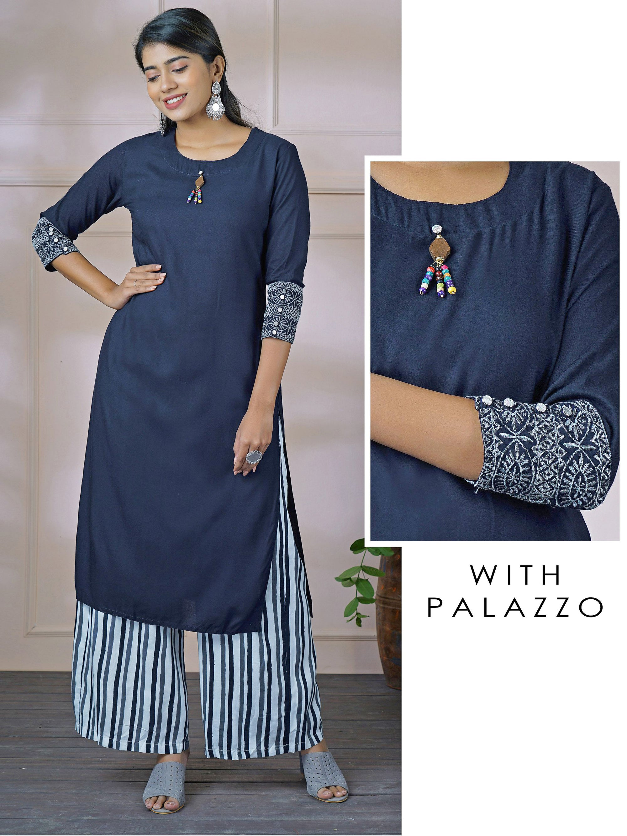 Wooden Tassel with Beaded Solid Kurti & Cabana Striped Palazzo Set