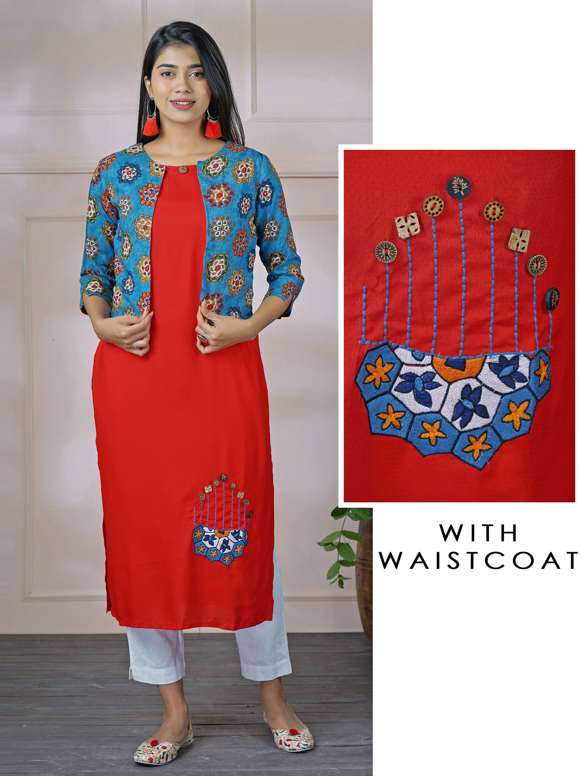 Placement Embroidered Kurti with Contrast Printed Jacket – Scarlet Red