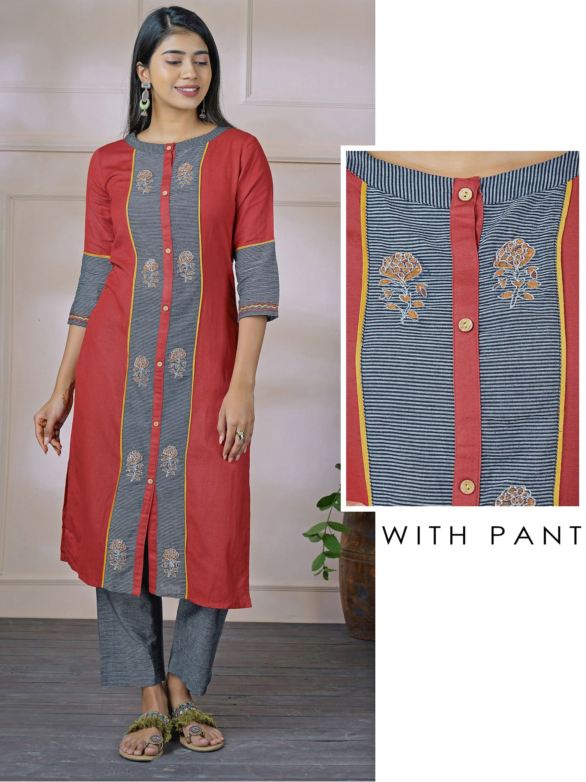 Hand Block Floral Printed Kurti with Horizontal Candy Striped Pant Set