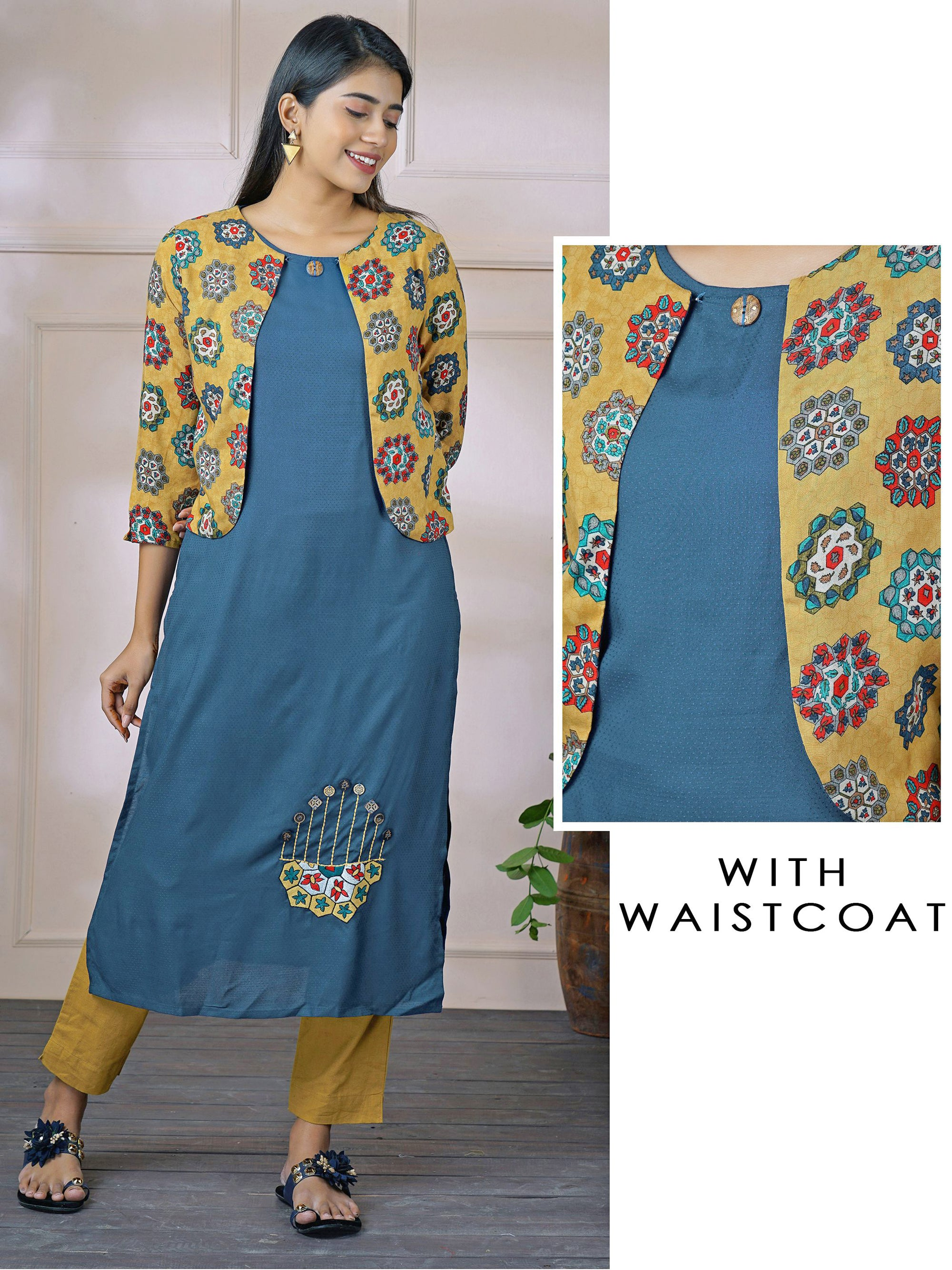 Placement Embroidered Kurti with Contrast Printed Jacket – Indigo Blue