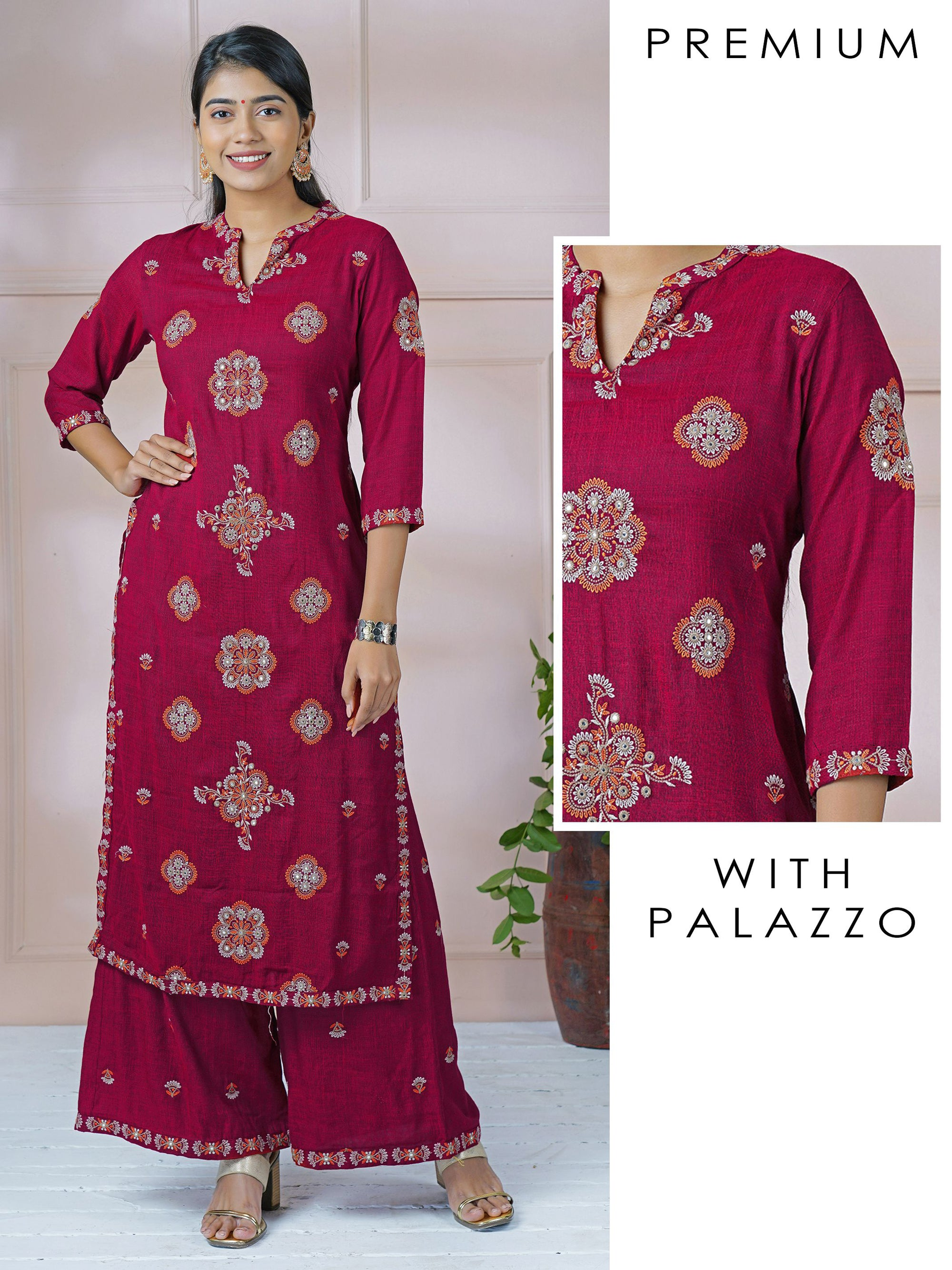 Mirror work & Embroidered Kurti with Minimal Embroidered Palazzo Set
