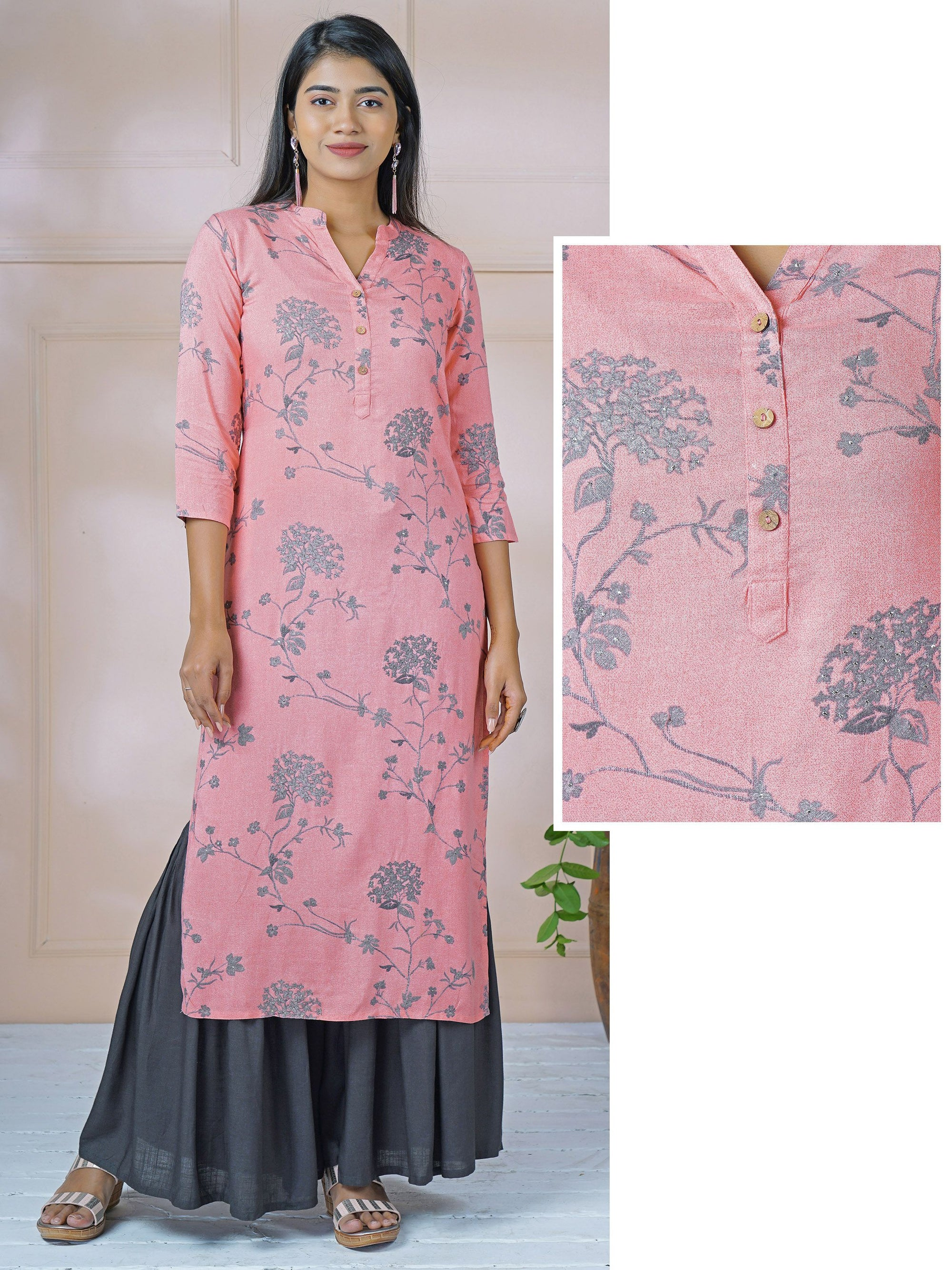 Glaucous Floral Printed & Foil Embellished Kurti - Candy Pink