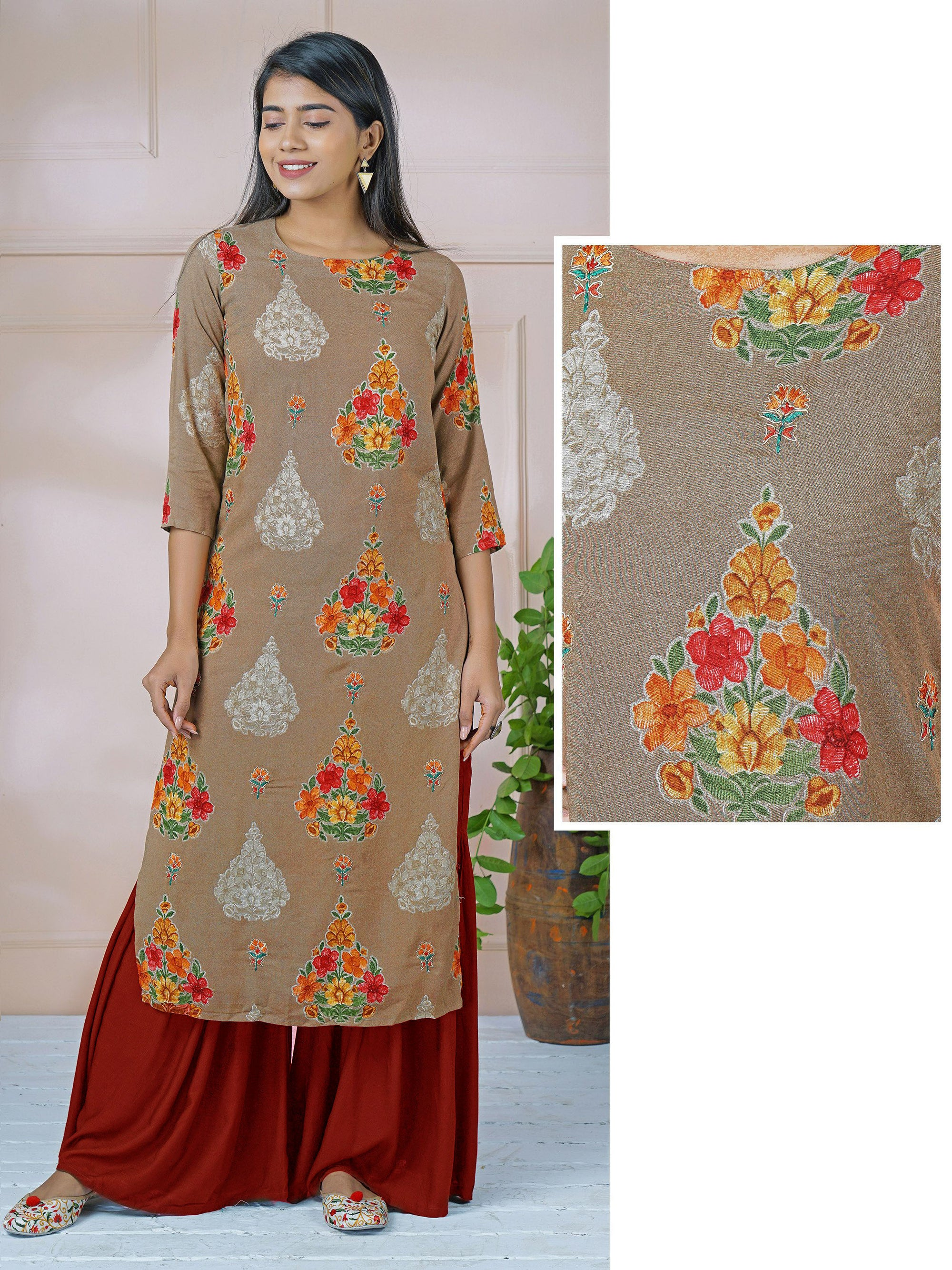 Vibrant Floral Printed & Cord Embroidered Kurti
