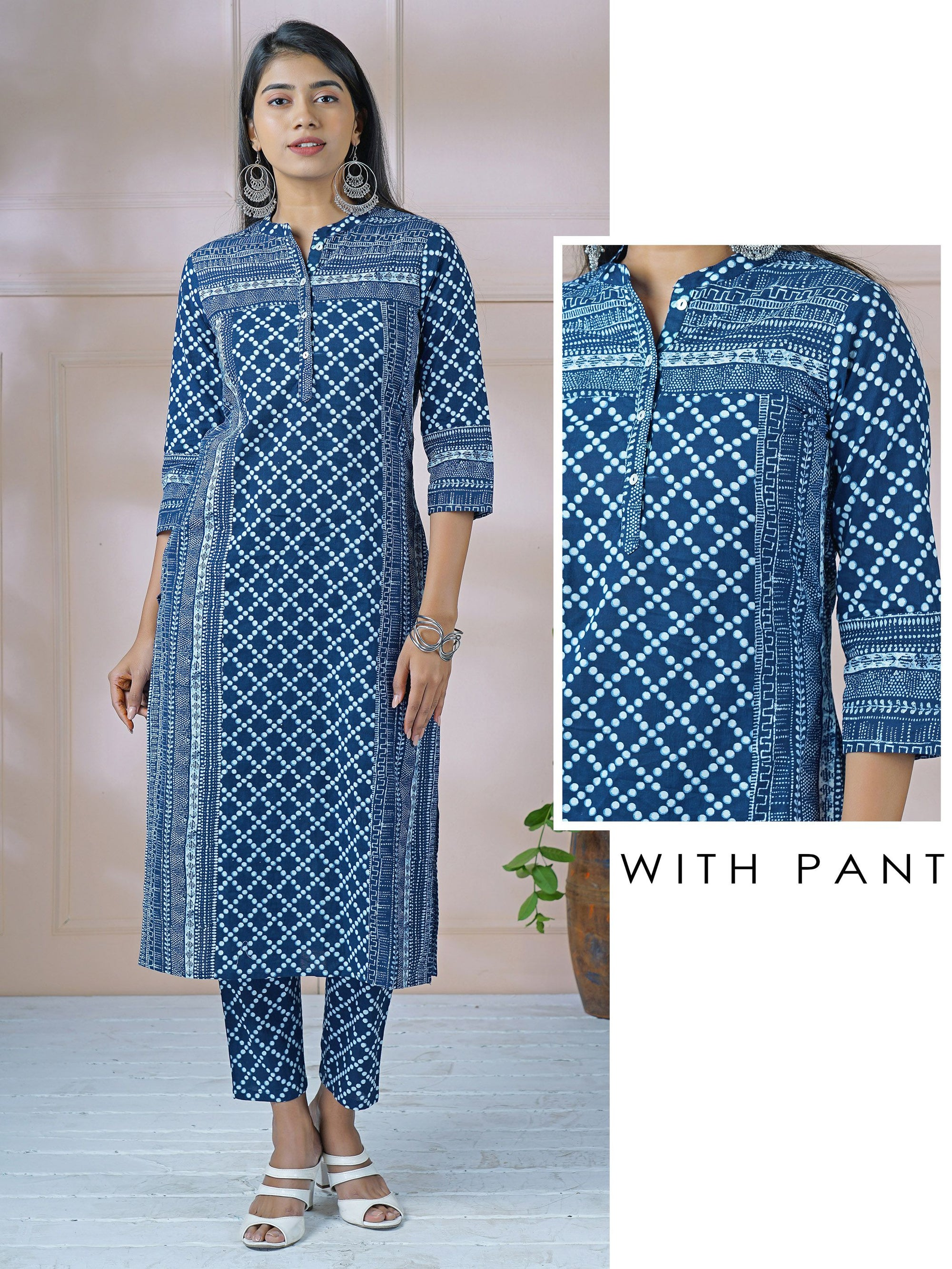 Indigo Panel Printed Kurti & Abstract Dots Printed Pant Set