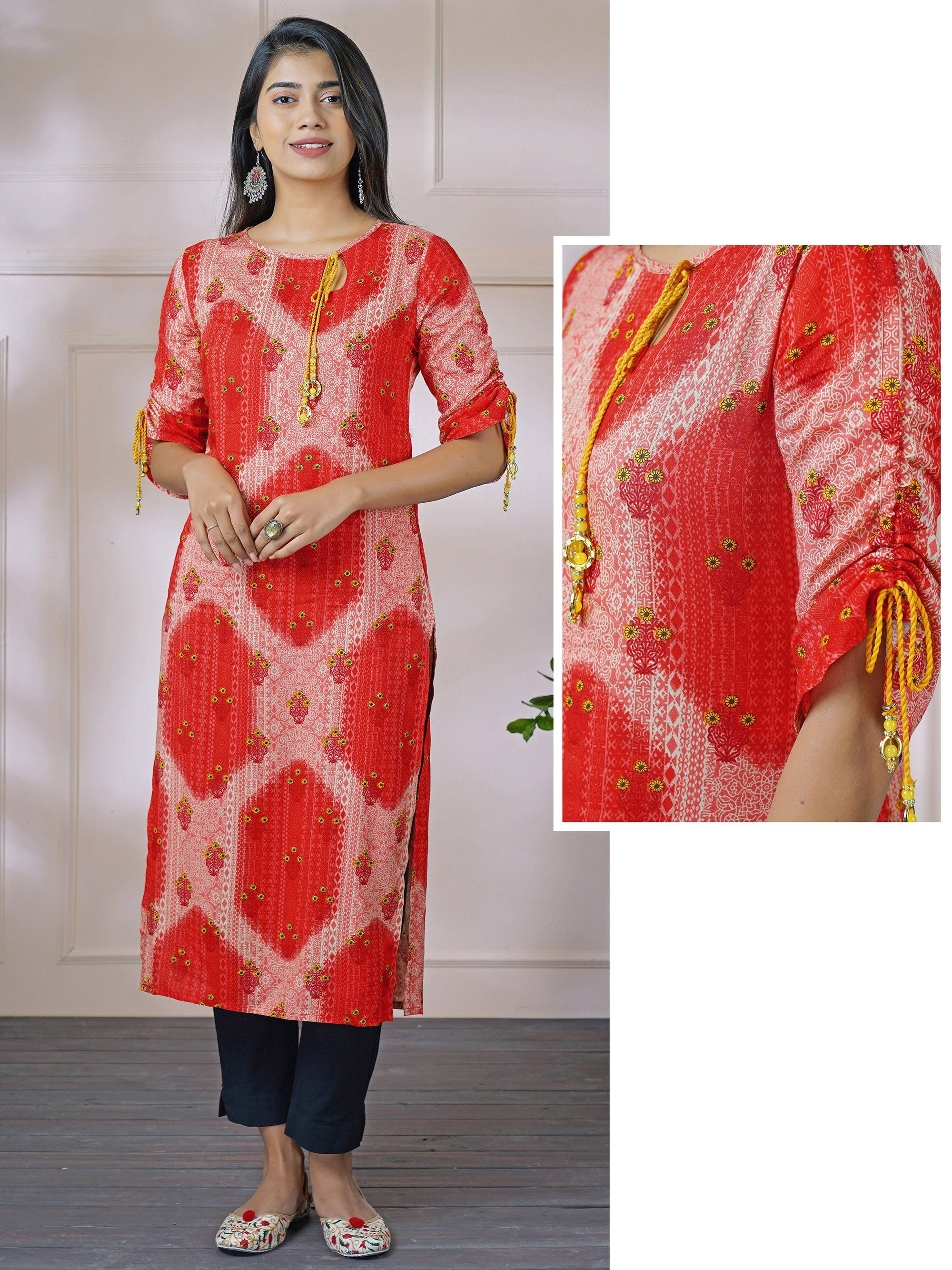 Abstract Printed Key Hole Neck Dori Tie-Up Rayon Kurti – Brick Red