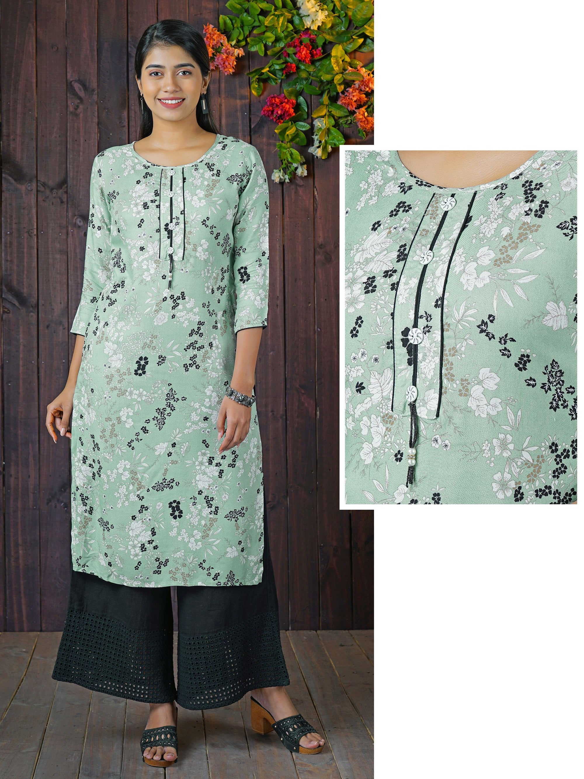 Contrast Buttoned, Bead Work & Floral Printed Rayon Kurti – Mint Green
