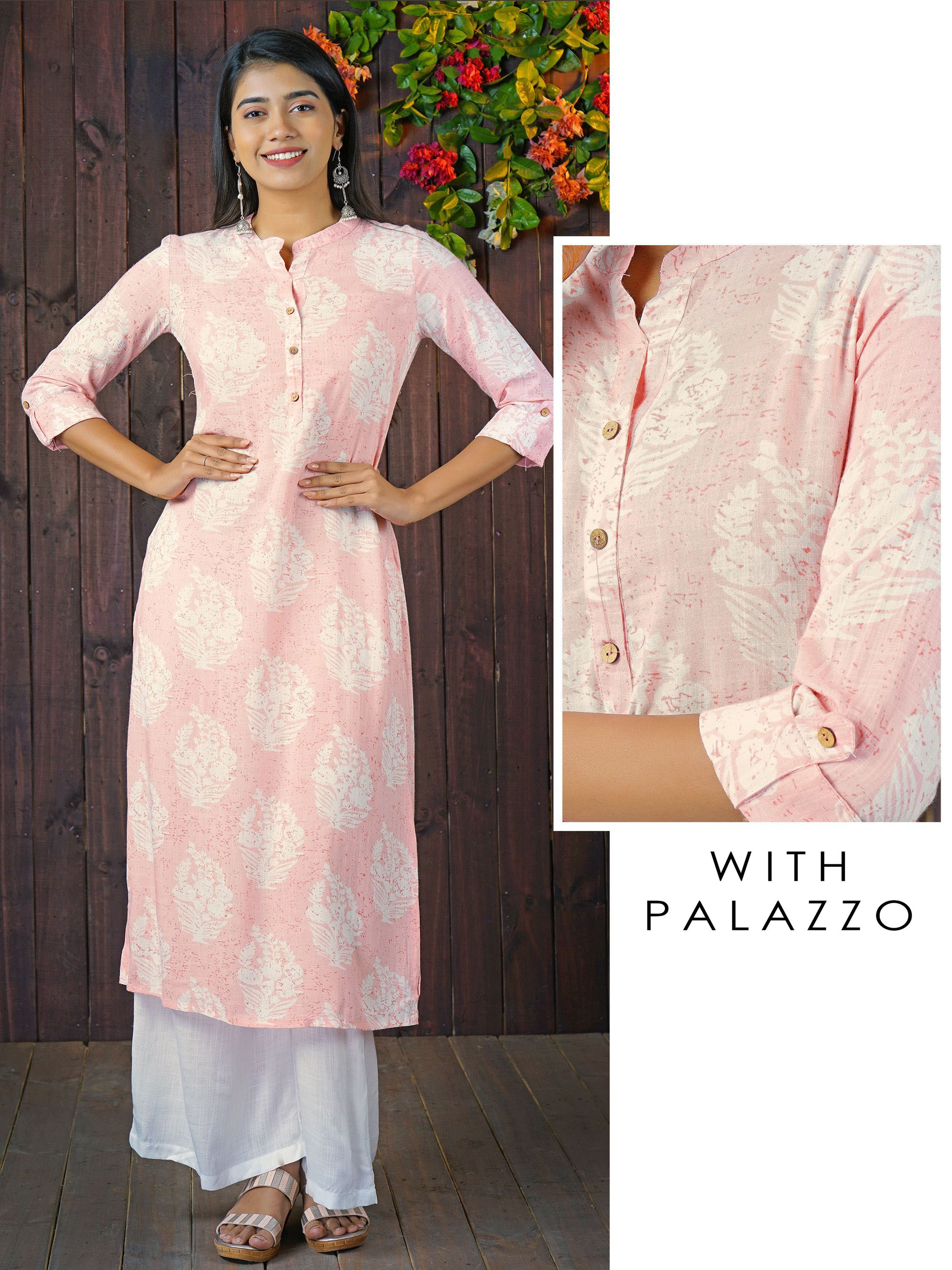 Coconut Shell Buttoned & Ethnic Printed Kurti with Solid Palazzo Set