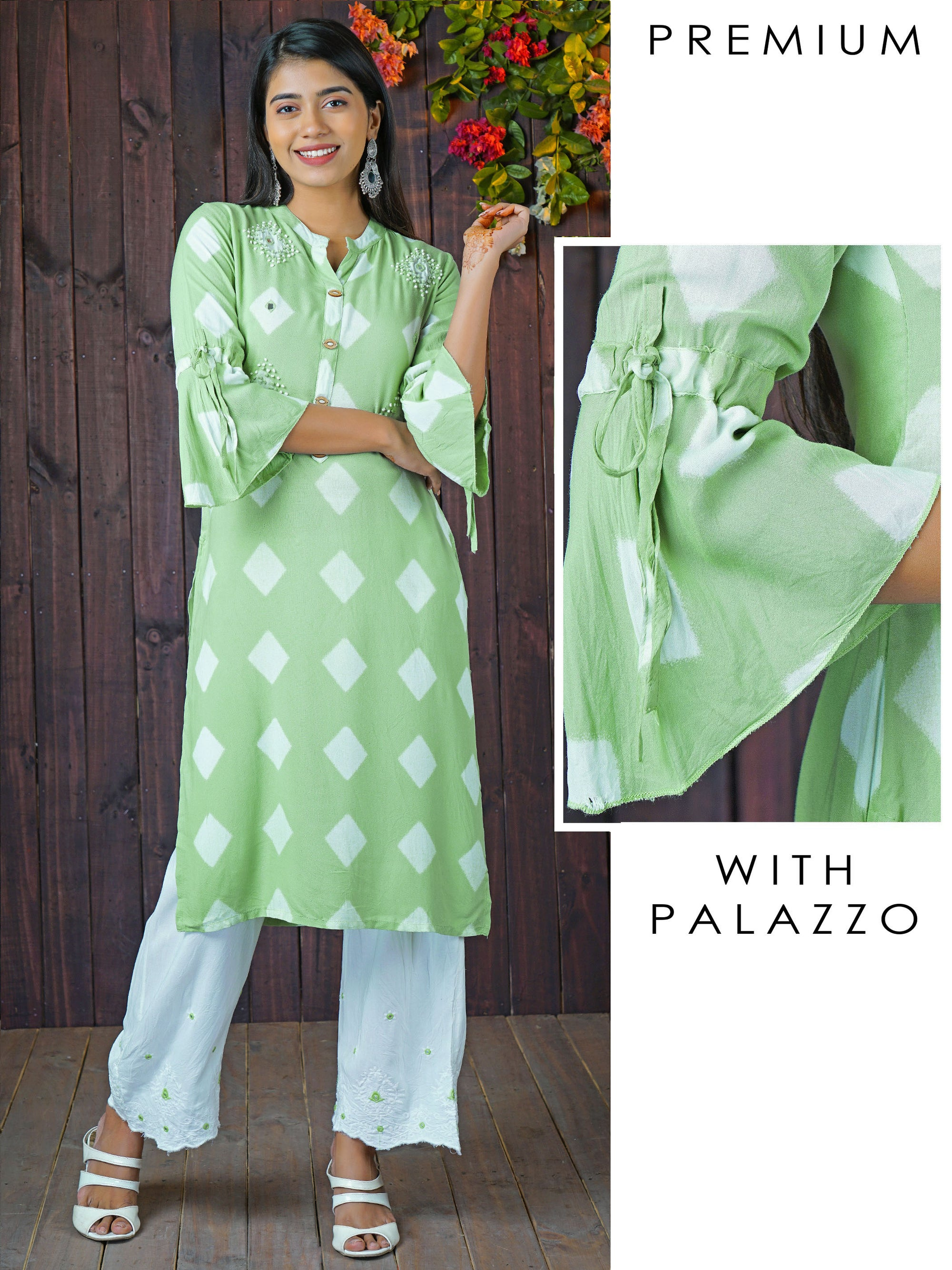 French Knot & Diamond Printed Kurti With Scallop Embroidered Pant Set - Mint Green