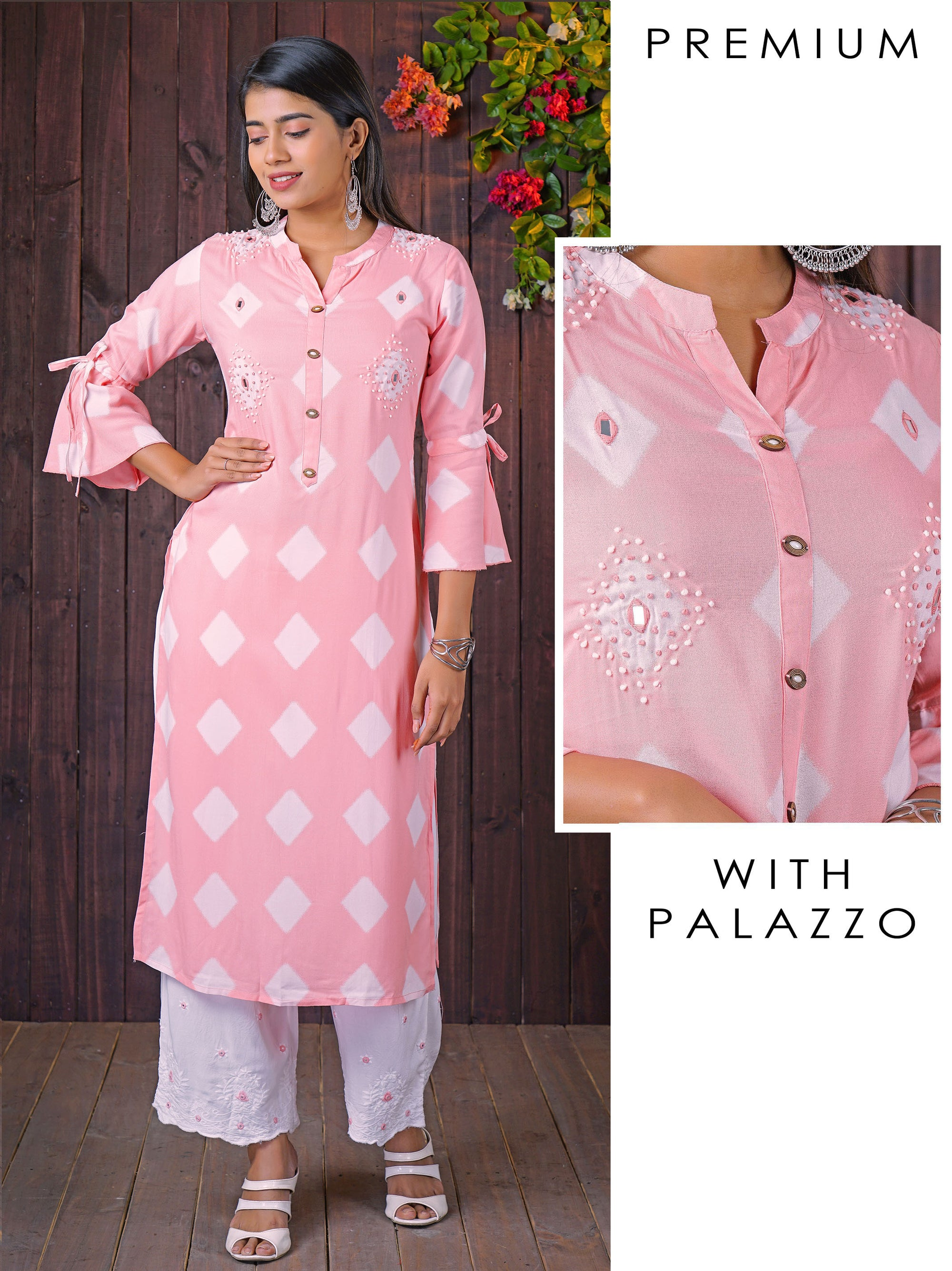 French Knot & Diamond Printed Kurti With Scallop Embroidered Pant Set - Candy Pink