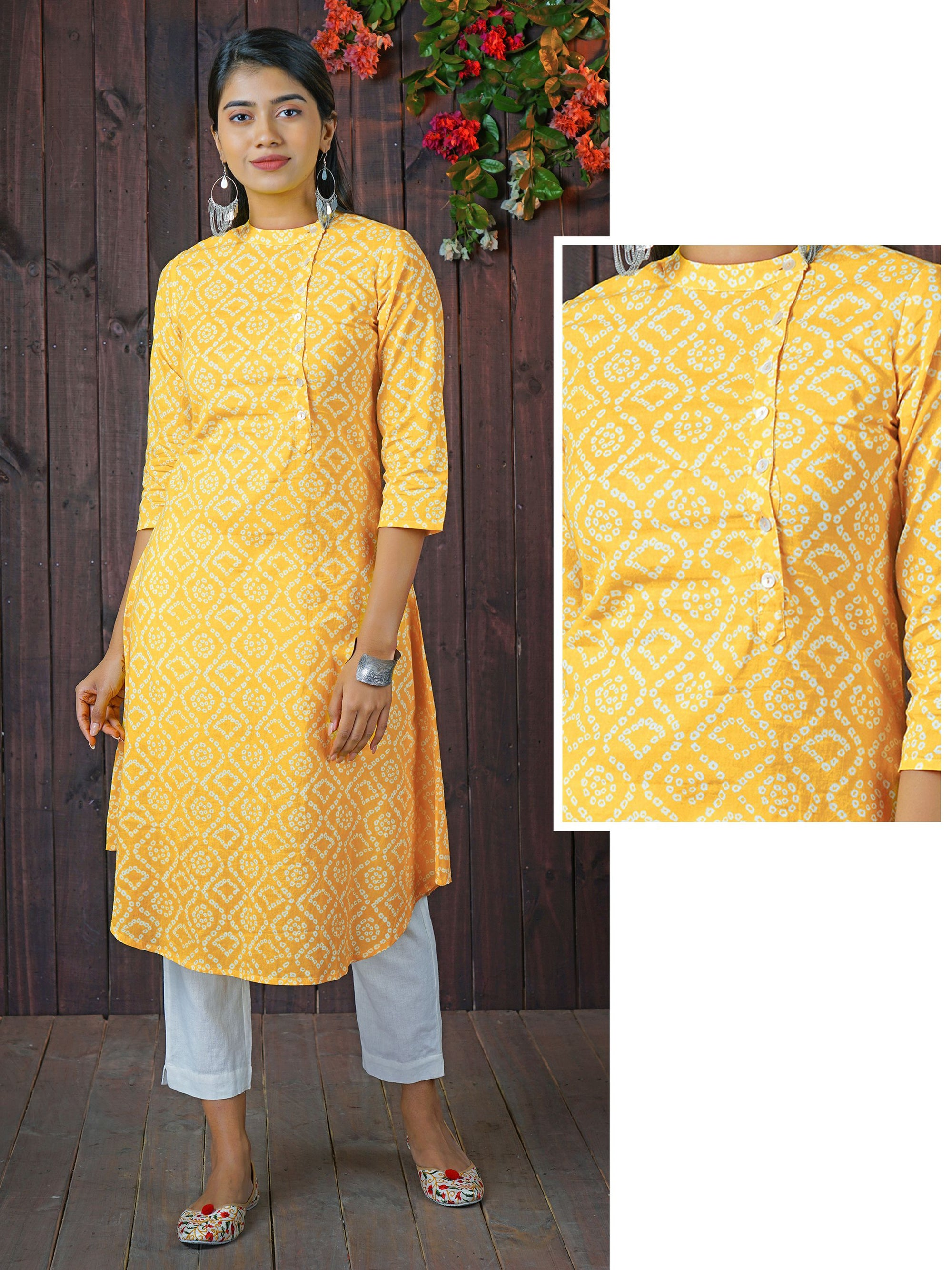 Bandhani Printed, Mother of Pearl Buttoned Kurti