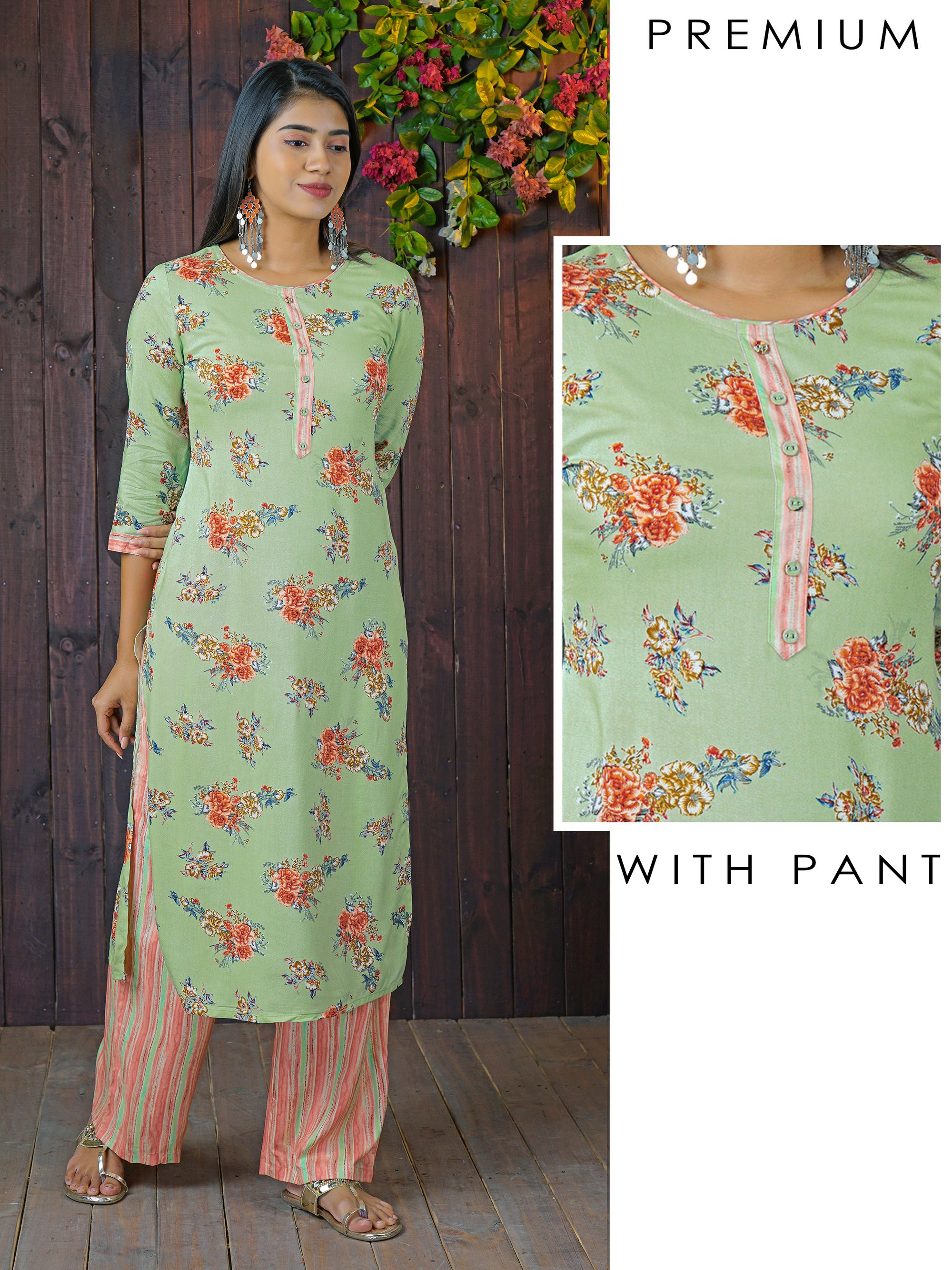 Vibrant Floral Printed Kurti & Multi-Color Striped Pant Set
