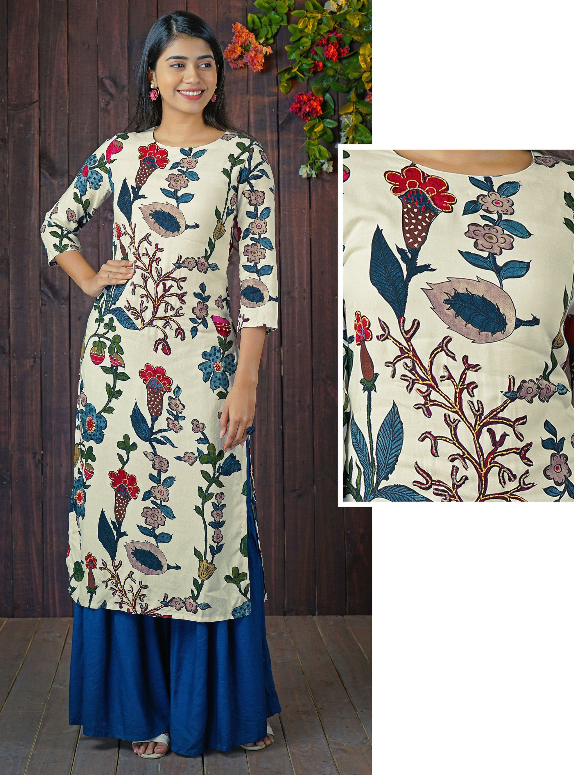 Antique Beads Accentuated Floral Printed Kurti