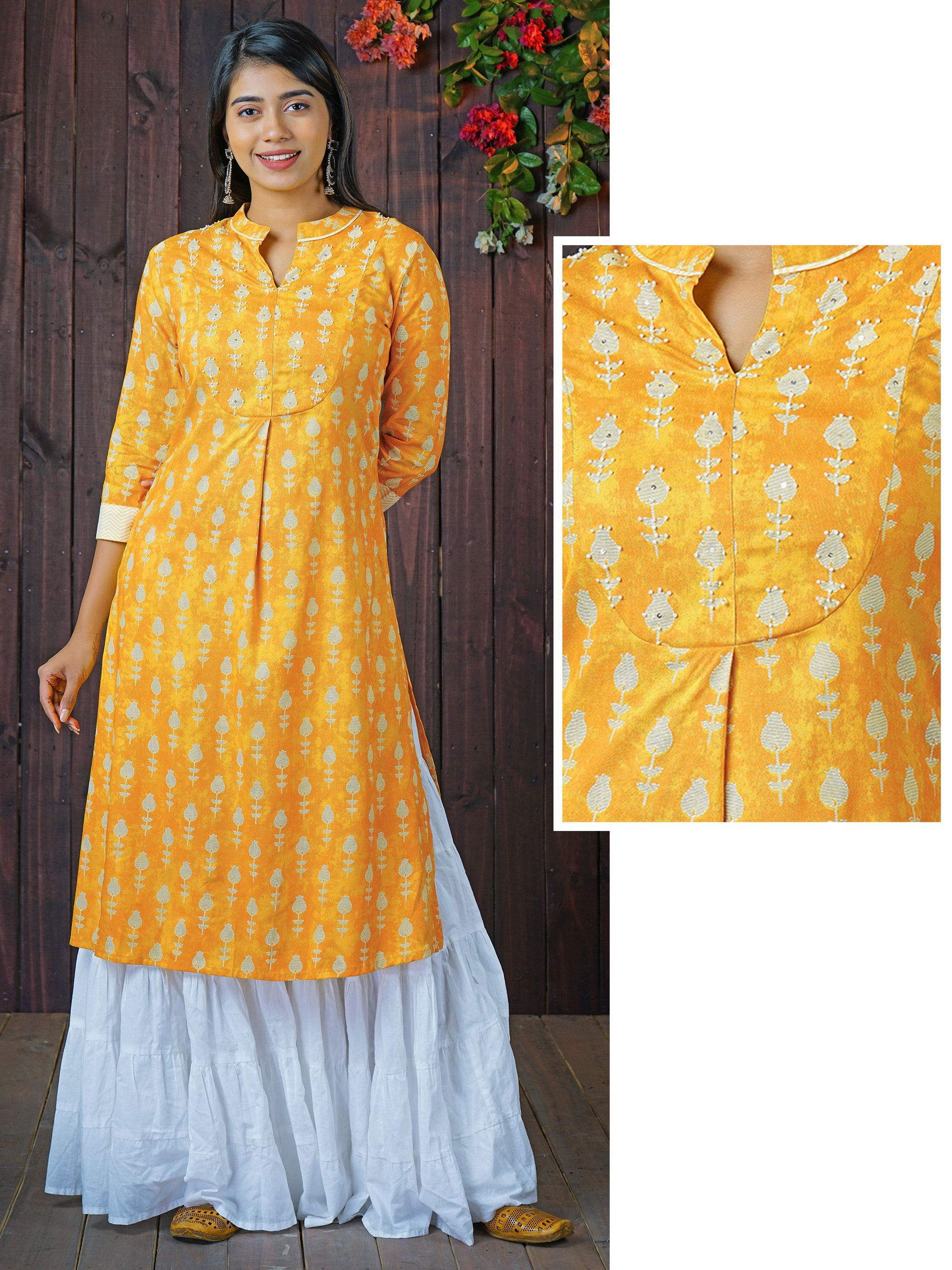 Sequin & Bead Worked Tulip Printed Kurti - Yellow