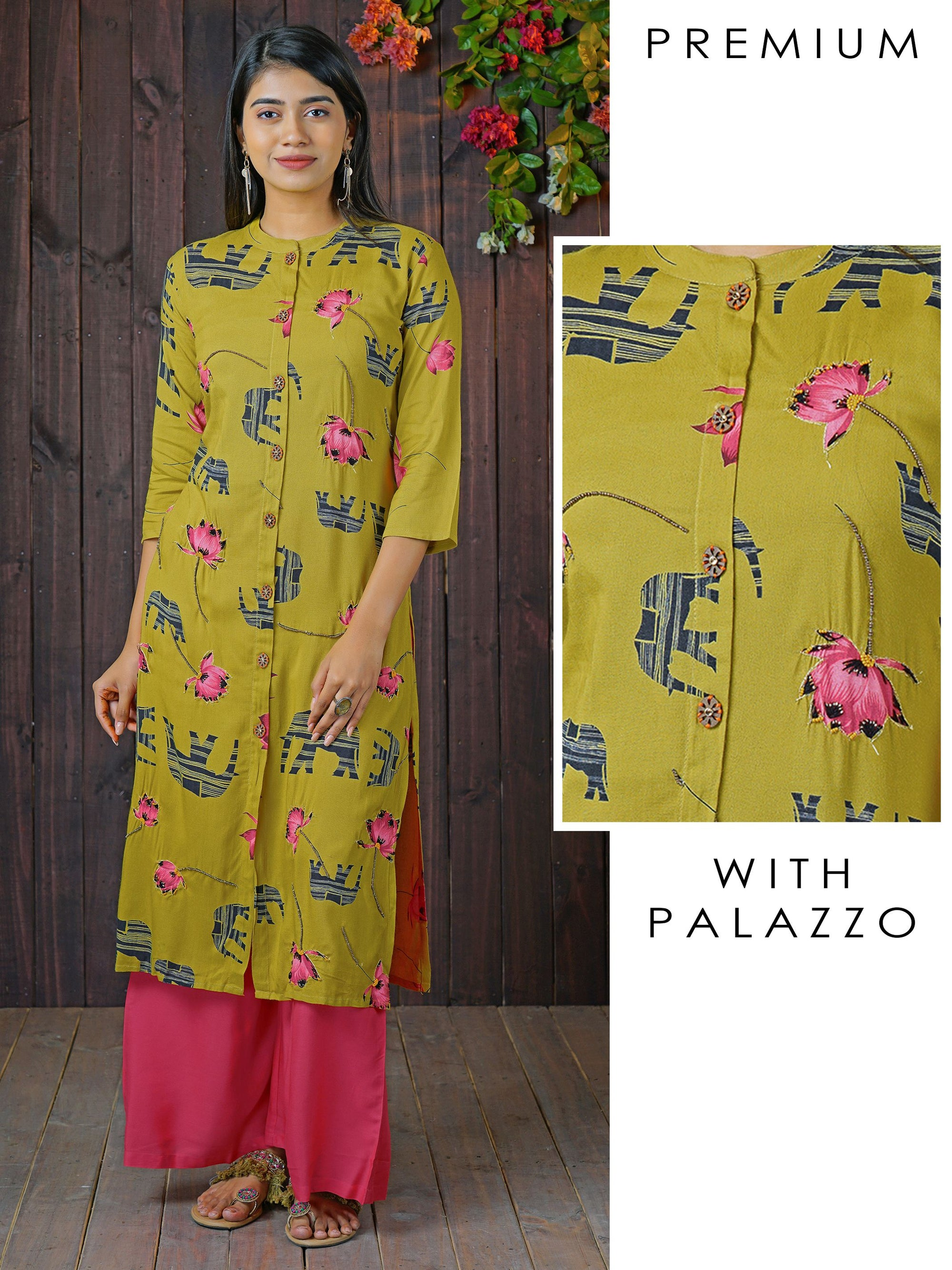Elephant & Floral Printed Beads Embellished Panel Kurti with Solid Palazzo Set