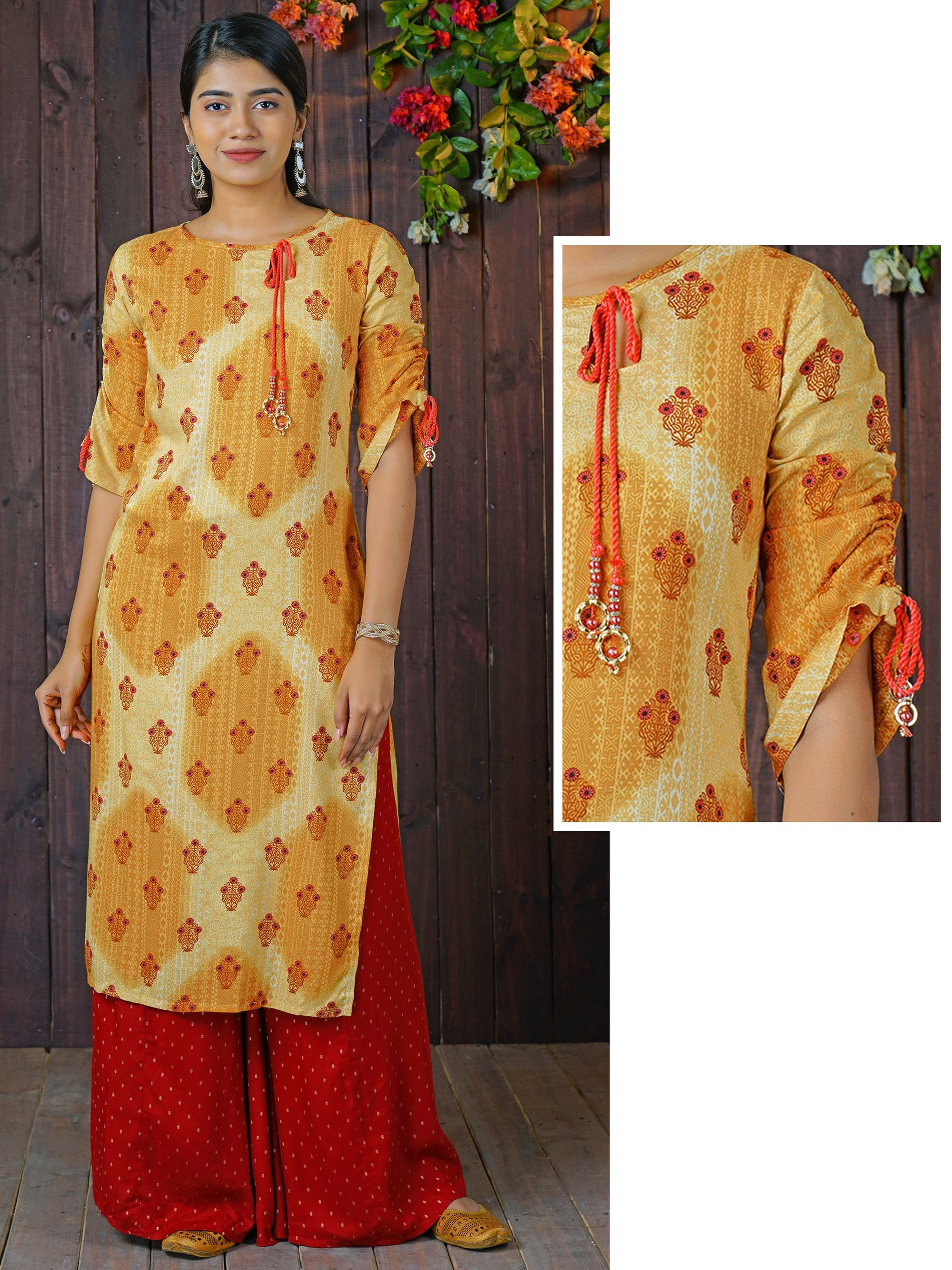 Abstract Printed Key Hole Neck Dori Tie-Up Rayon Kurti – Mustard Yellow