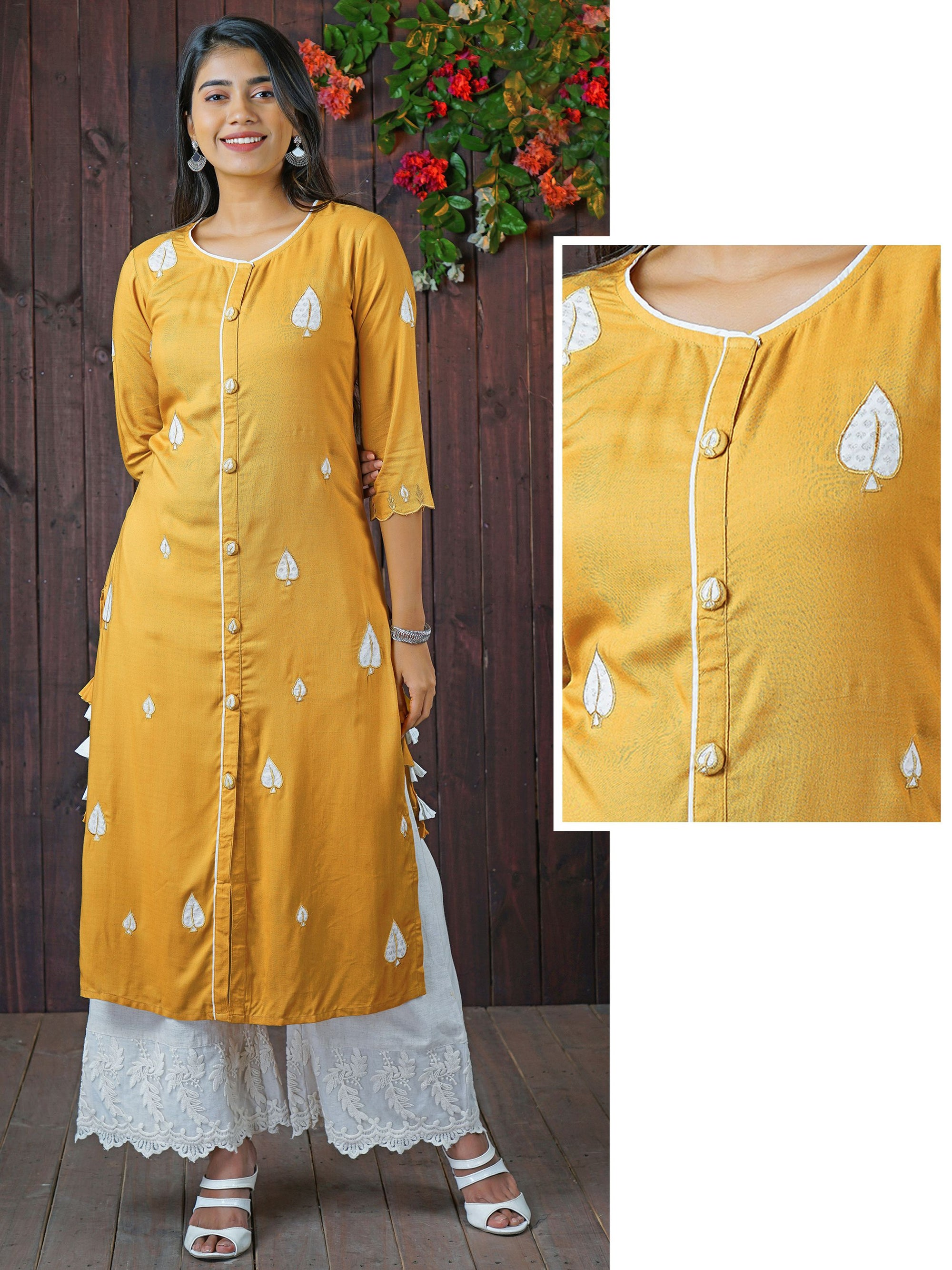 Silver Leaf Patch Worked Panel Kurti with Tassels - Mustard Yellow