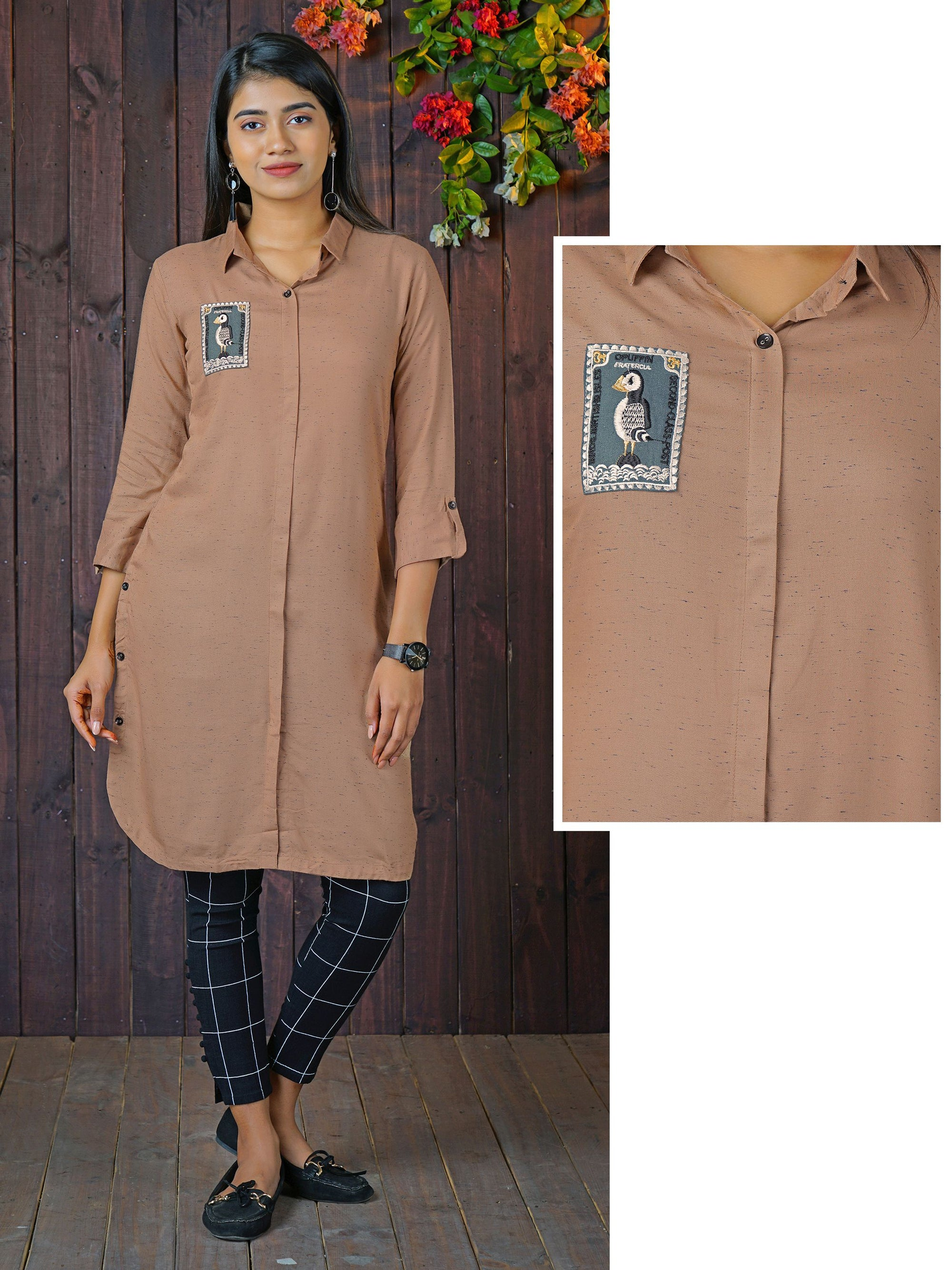 Penguin Embroidered Applique Kurti