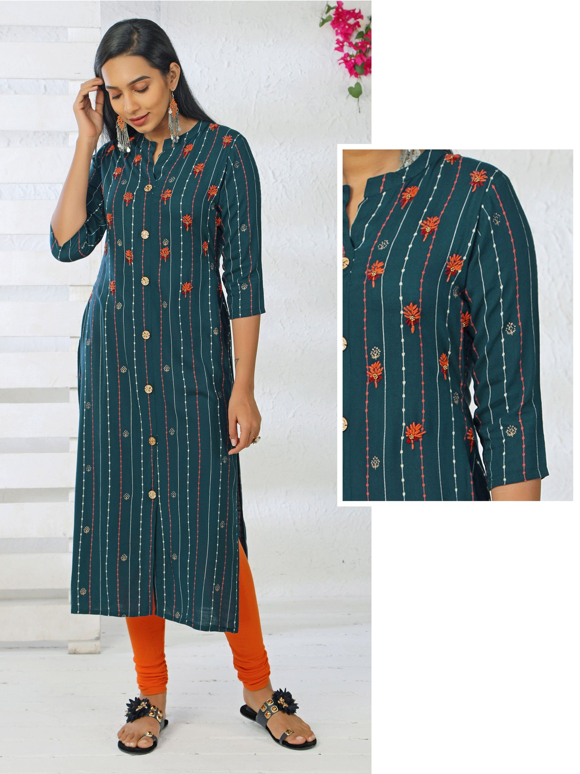 Kundan Stoned Buttons & Hand Embroidered Teal Kurti